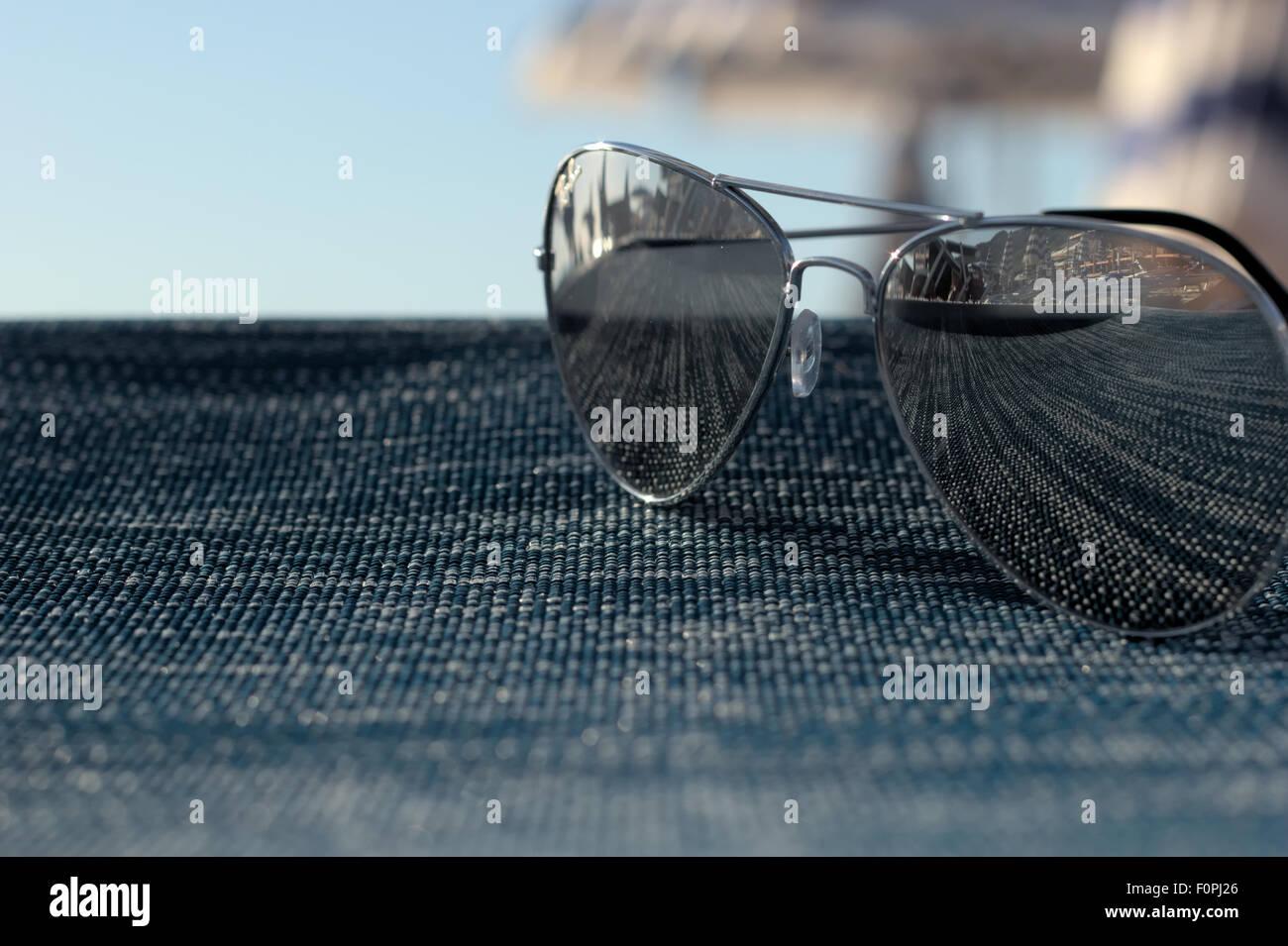 Closeup of a sunglass - Stock Image