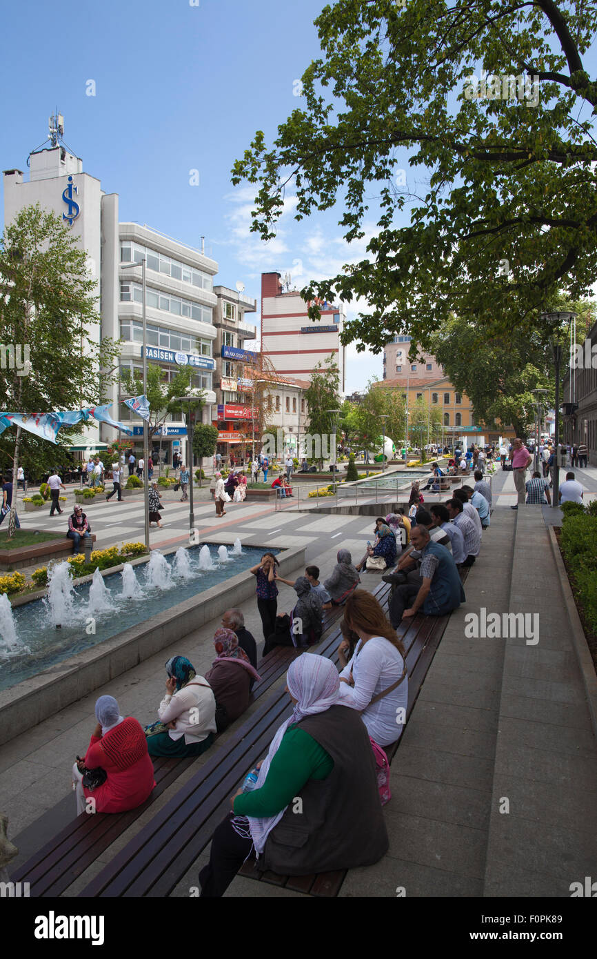 Ataturk Alani, central square, Black Sea port of Trabzon, Trabzon Province, Turkey, Eurasia - Stock Image