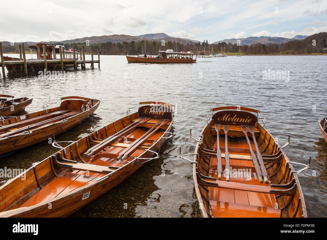 Rowing boats for hire, Lake Windermere, Ambleside, Lake District, Cumbria, England - Stock Image