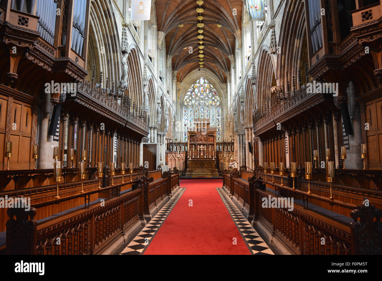 Selby Abbey, founded in 1069, now an Anglican parish church.  Interior, looking towards altar from choir stalls. - Stock Image