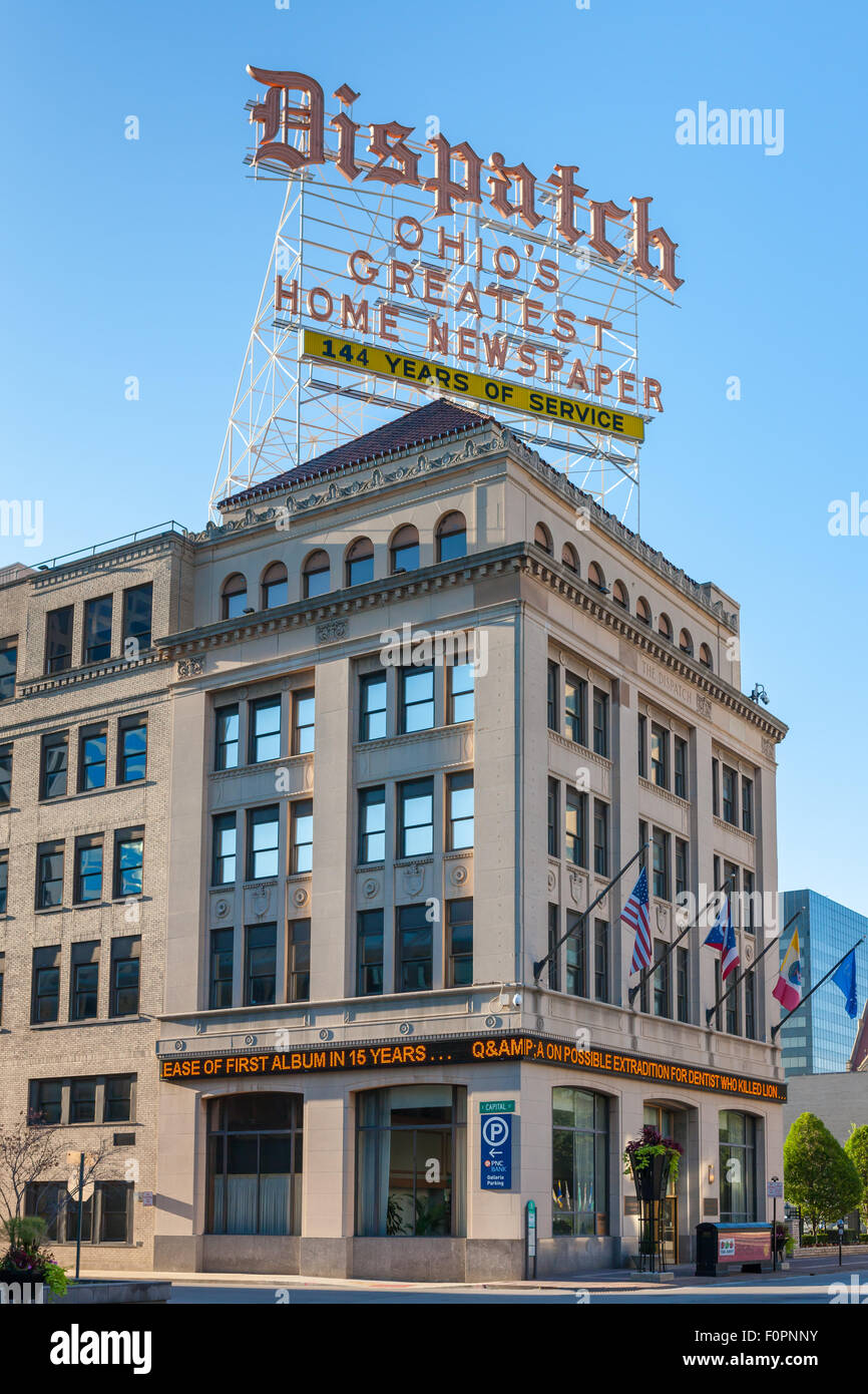 The Columbus Dispatch building and rooftop sign in Columbus, Ohio. - Stock Image