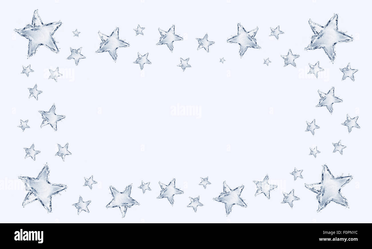 A frame made up of blue water stars. - Stock Image