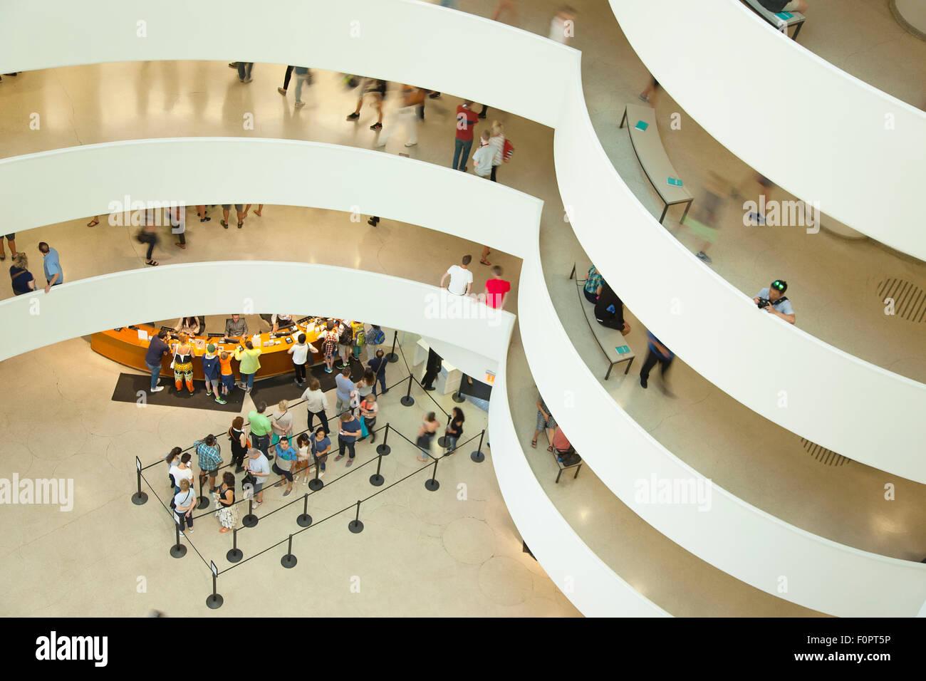 USA, New York State, New York City, Manhattan, Interior of the Solomon R Guggenheim Museum on 5th Avenue. - Stock Image