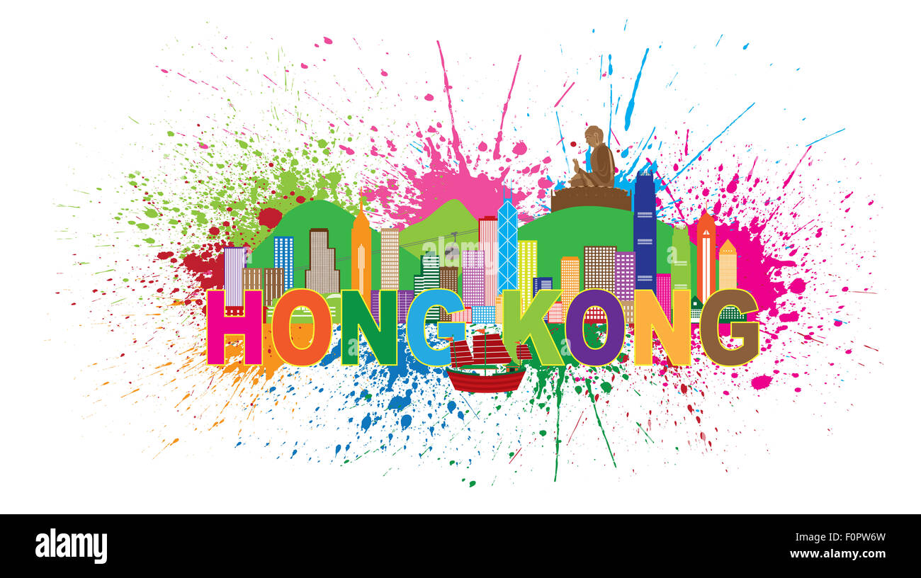 Hong Kong City Skyline and Big Buddha Statue Panorama Color Abstract Paint Splatter Text Isolated on White Background - Stock Image