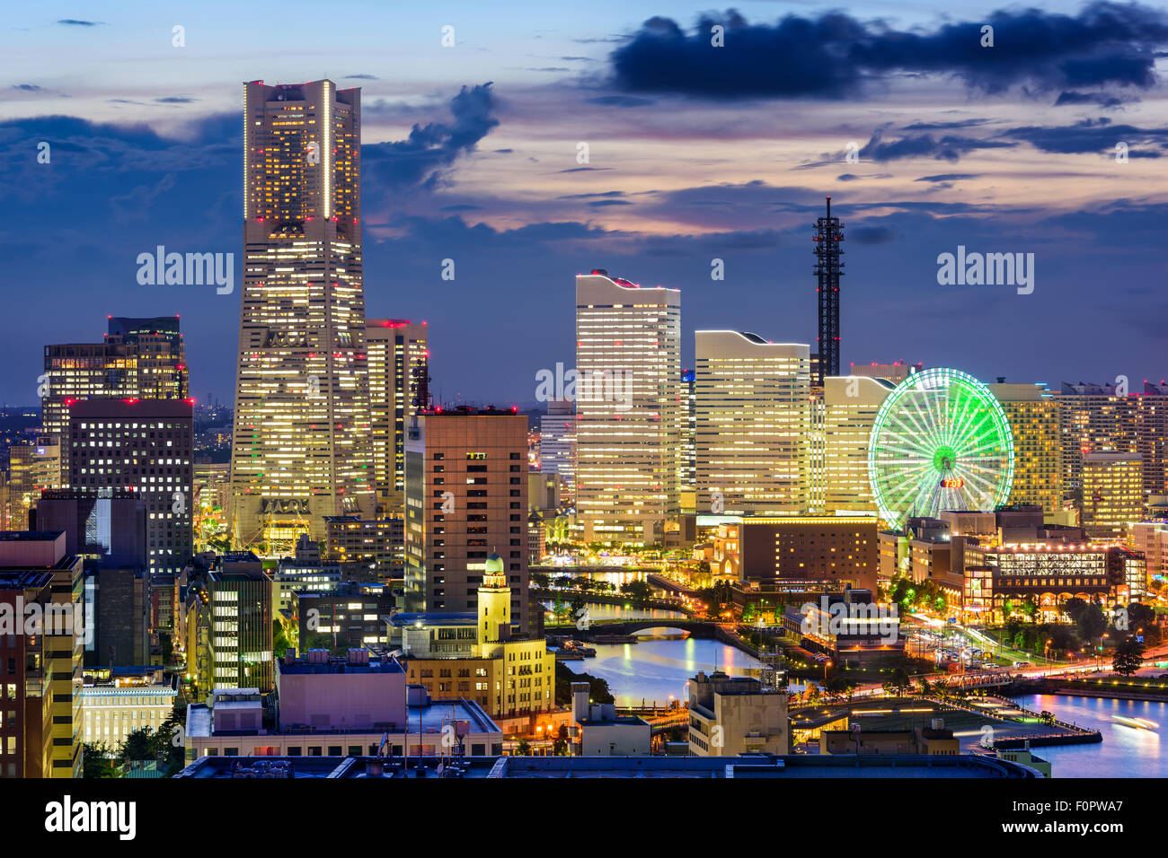 Yokohama, Japan skyline at dusk. - Stock Image