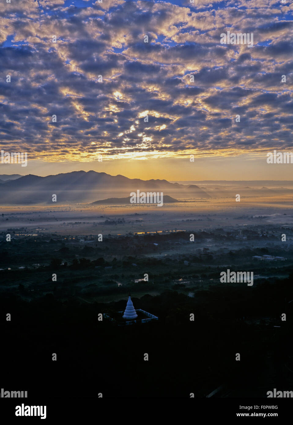 Mandalay Hill, sunset, outlook, sunlight, - Stock Image