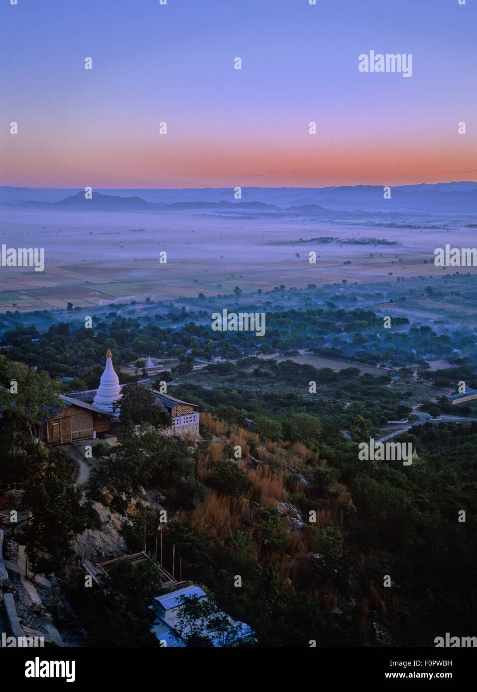 Mandalay Hill, sunset, outlook, - Stock Image