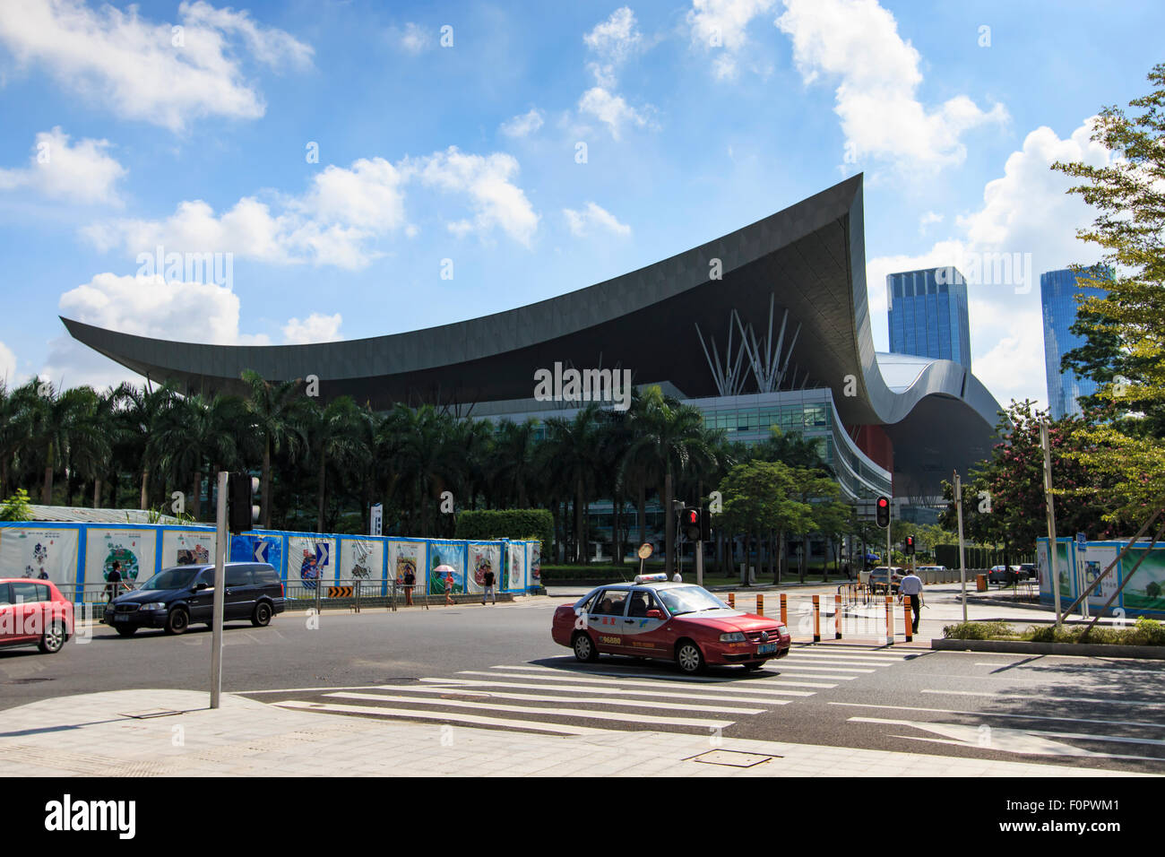 Shenzhen, China - August 19,2015: Shenzhen skyline as seen from the Stock Exchange building with the Civic Center - Stock Image