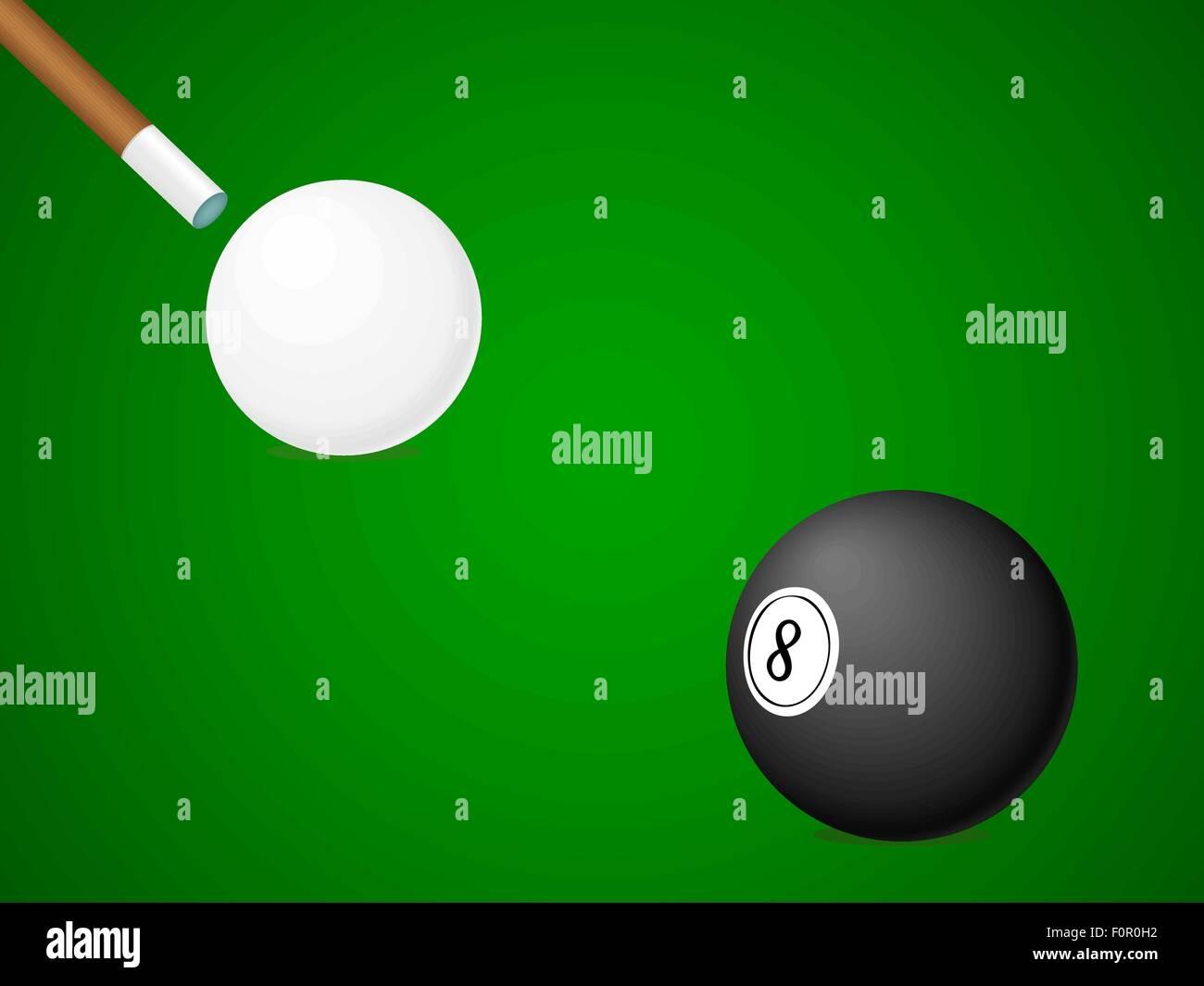 White and black billiard ball and stick. Vector illustration. - Stock Vector