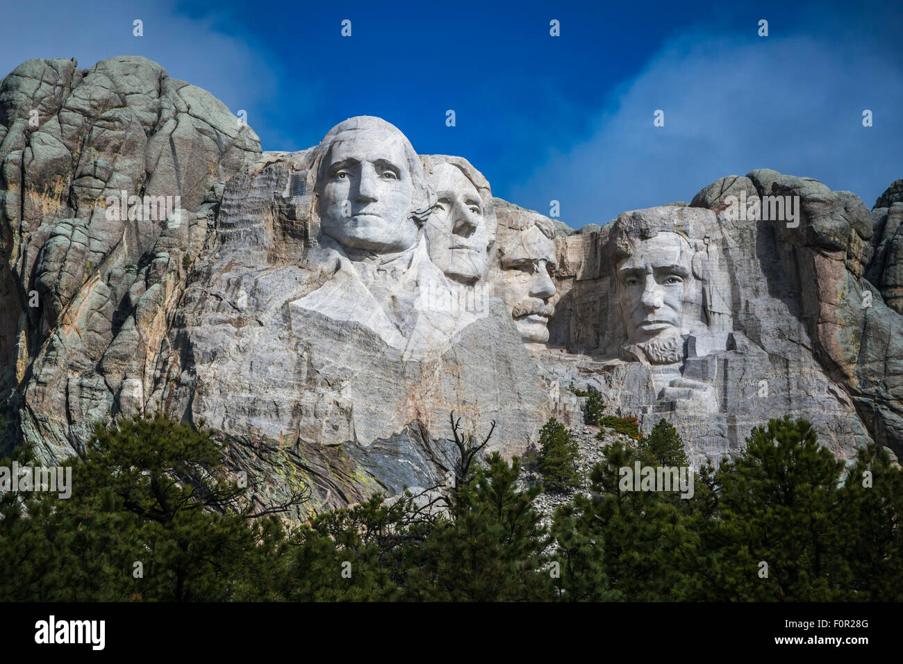 Mount Rushmore National Memorial is a sculpture carved into the granite face of Mount Rushmore near Keystone, South Stock Photo