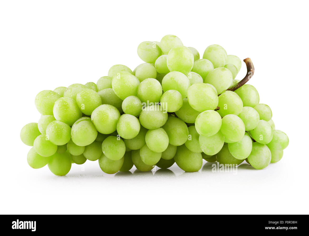 Green grape bunch isolated on white background. Clipping Path - Stock Image