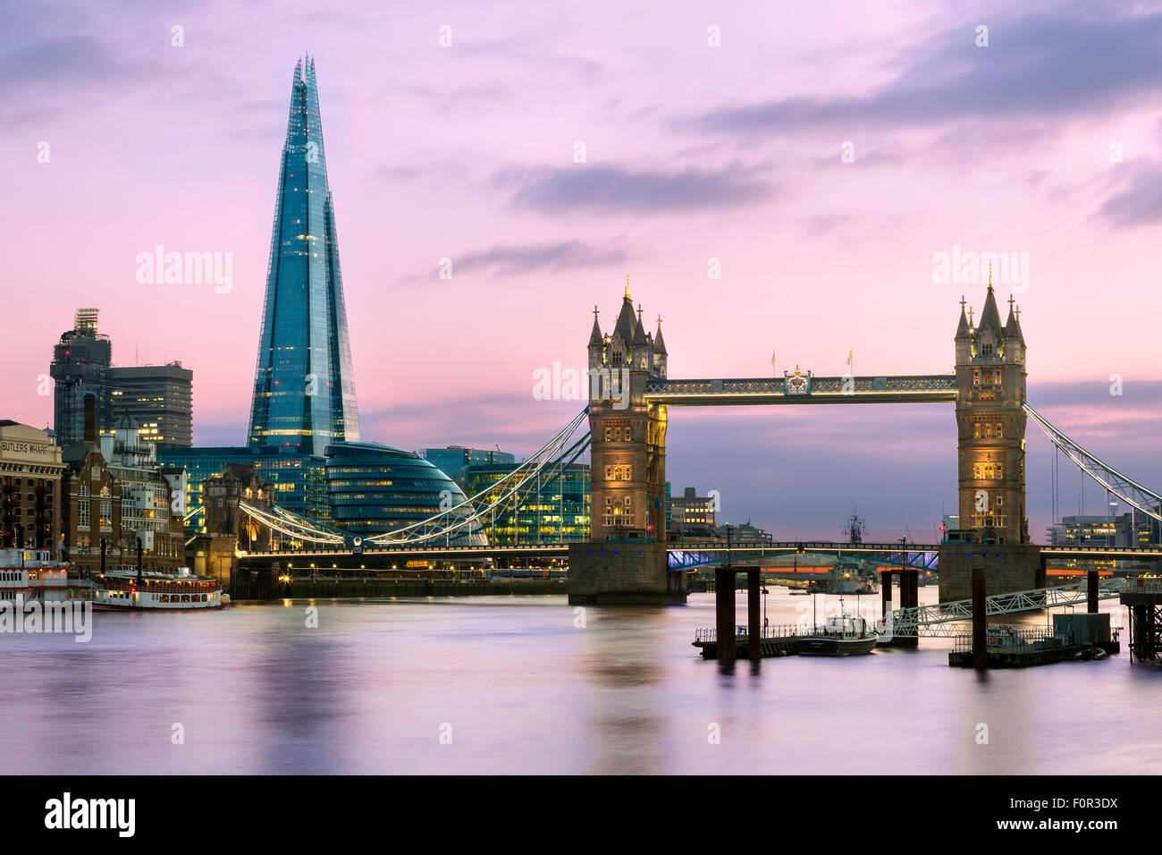London, Tower bridge and Shard London Bridge at Dusk - Stock Image
