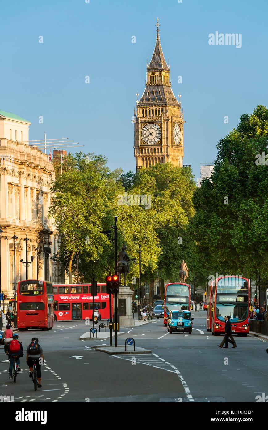 London, Big Ben and Whitehall from Trafalgar Square - Stock Image