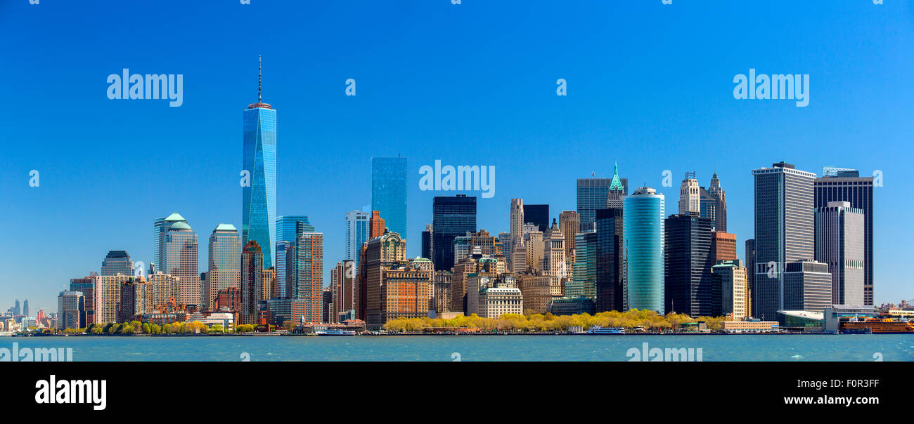 Panoramic of New York City with One World Trade Center - Stock Image