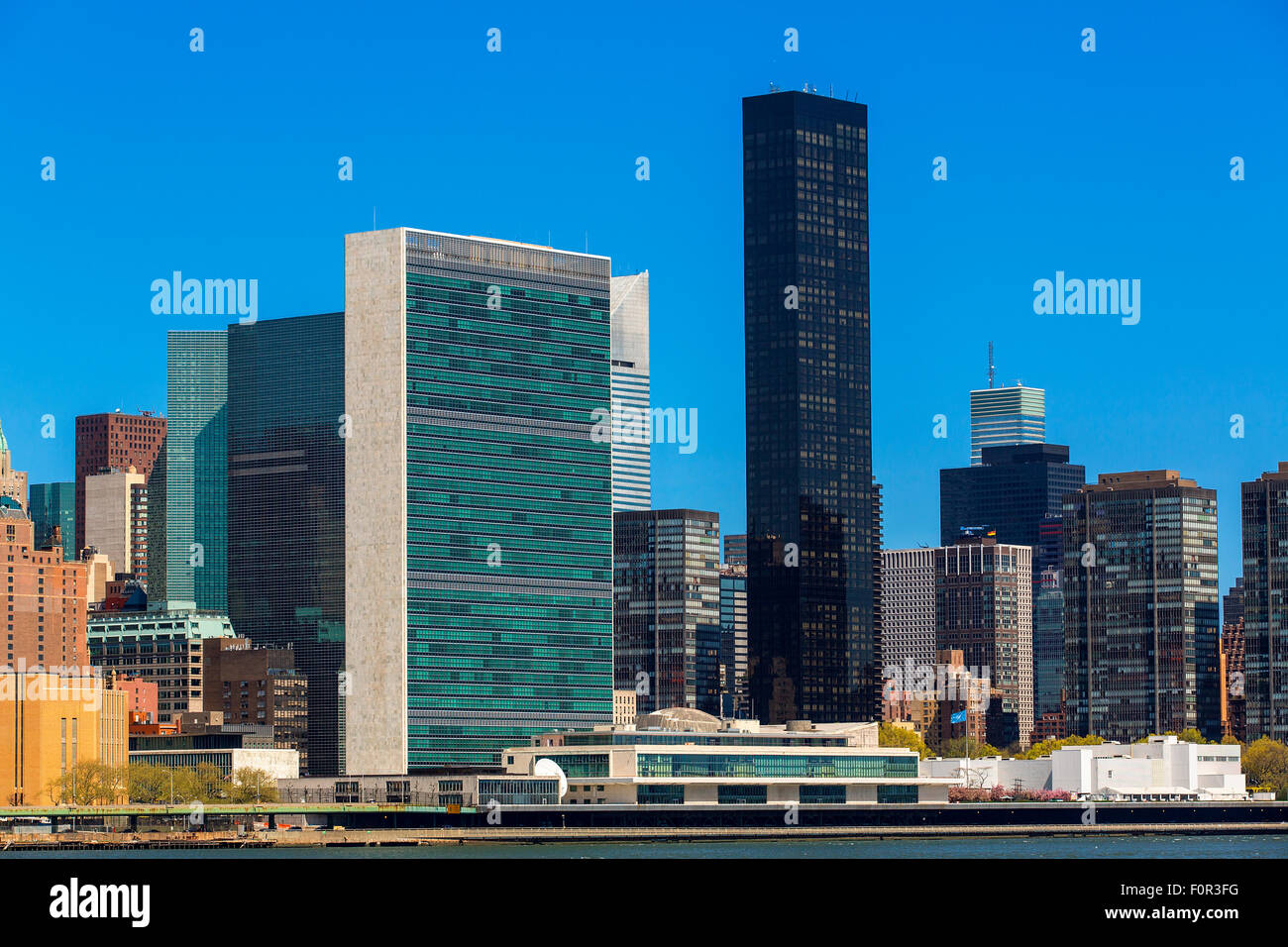 New York City with United Nations Building Stock Photo