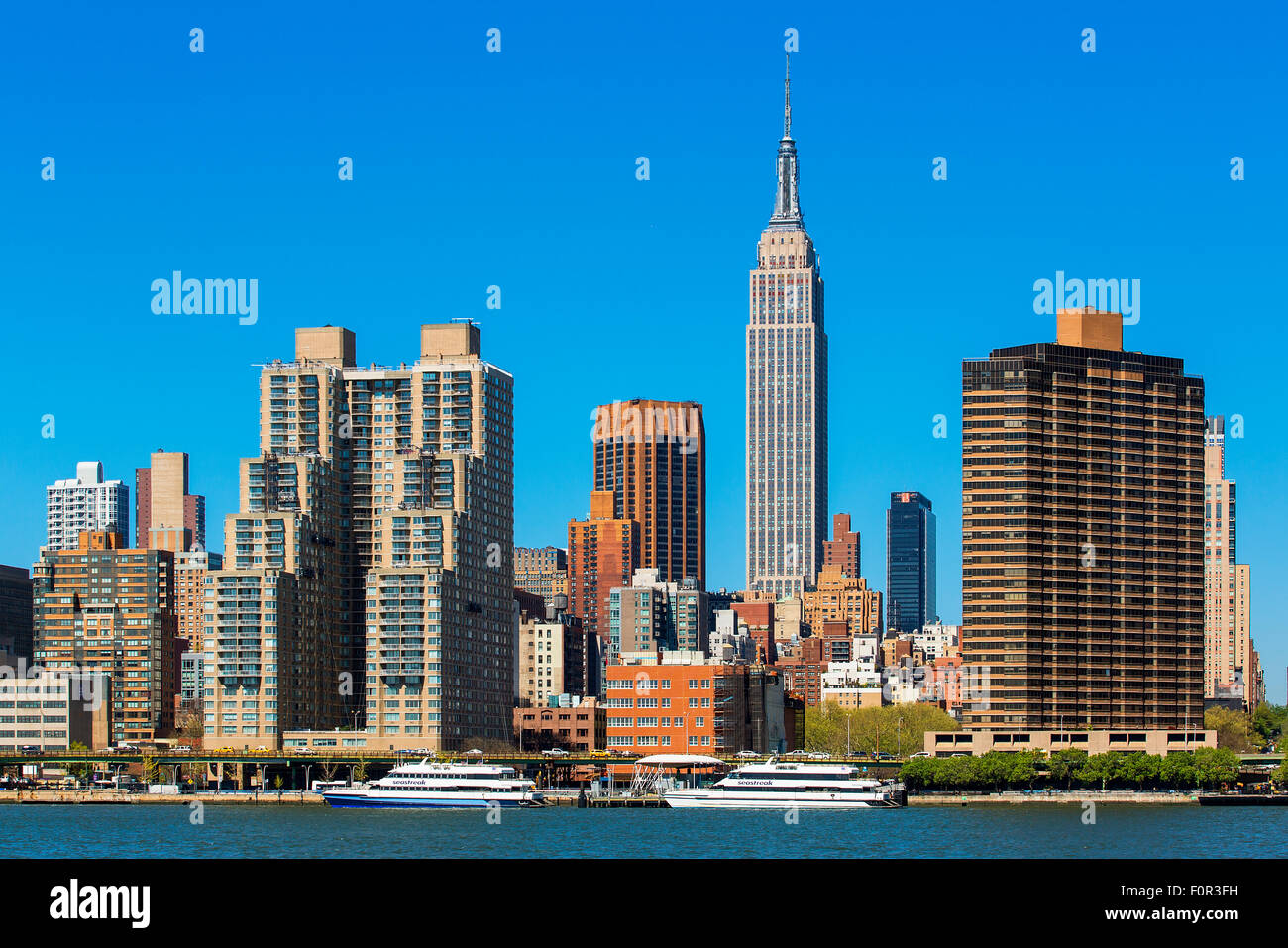 Panoramic of New York City with the Empire State Building Stock Photo
