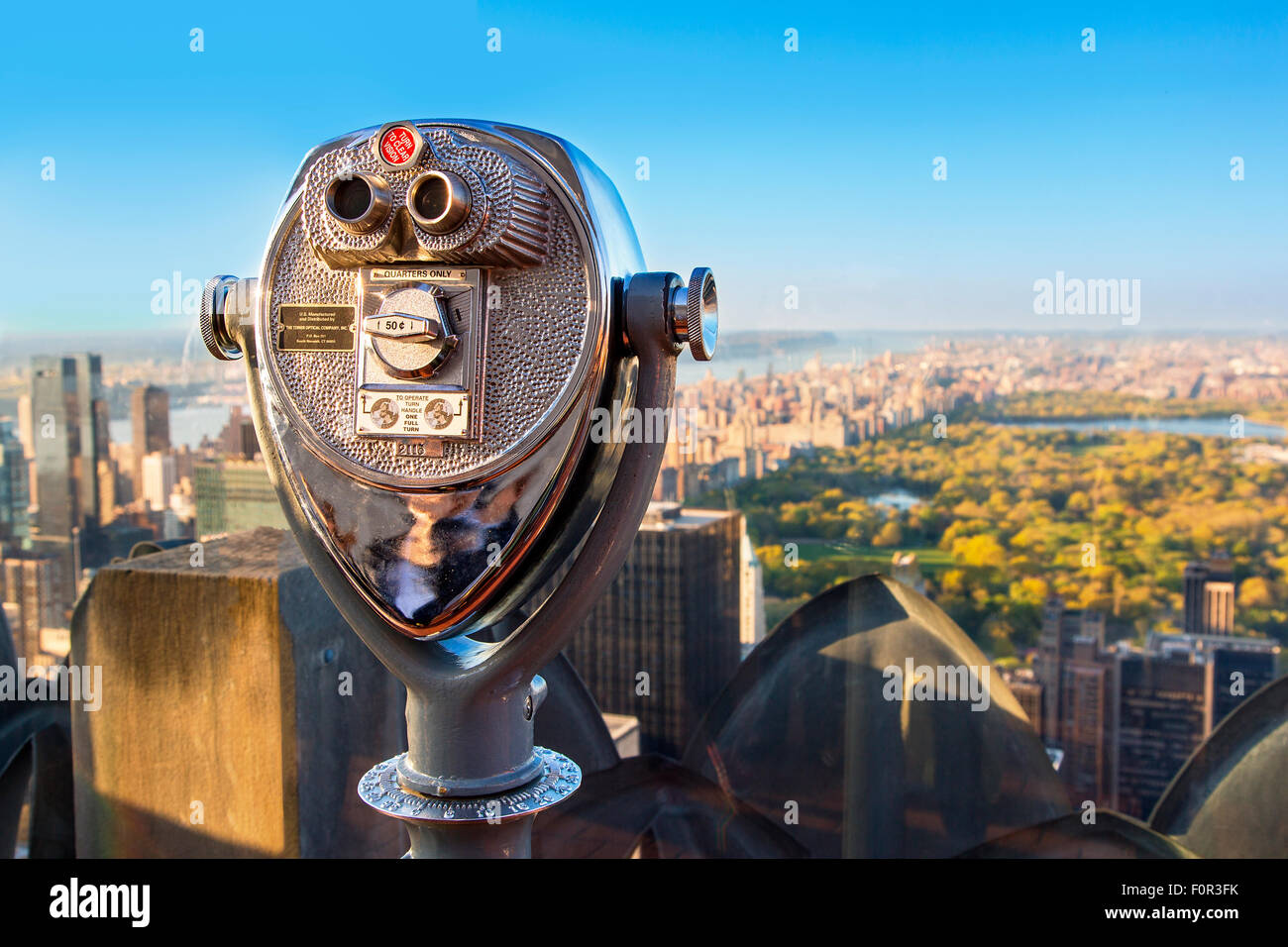 New York City, view on Central Park from top of the rock - Stock Image