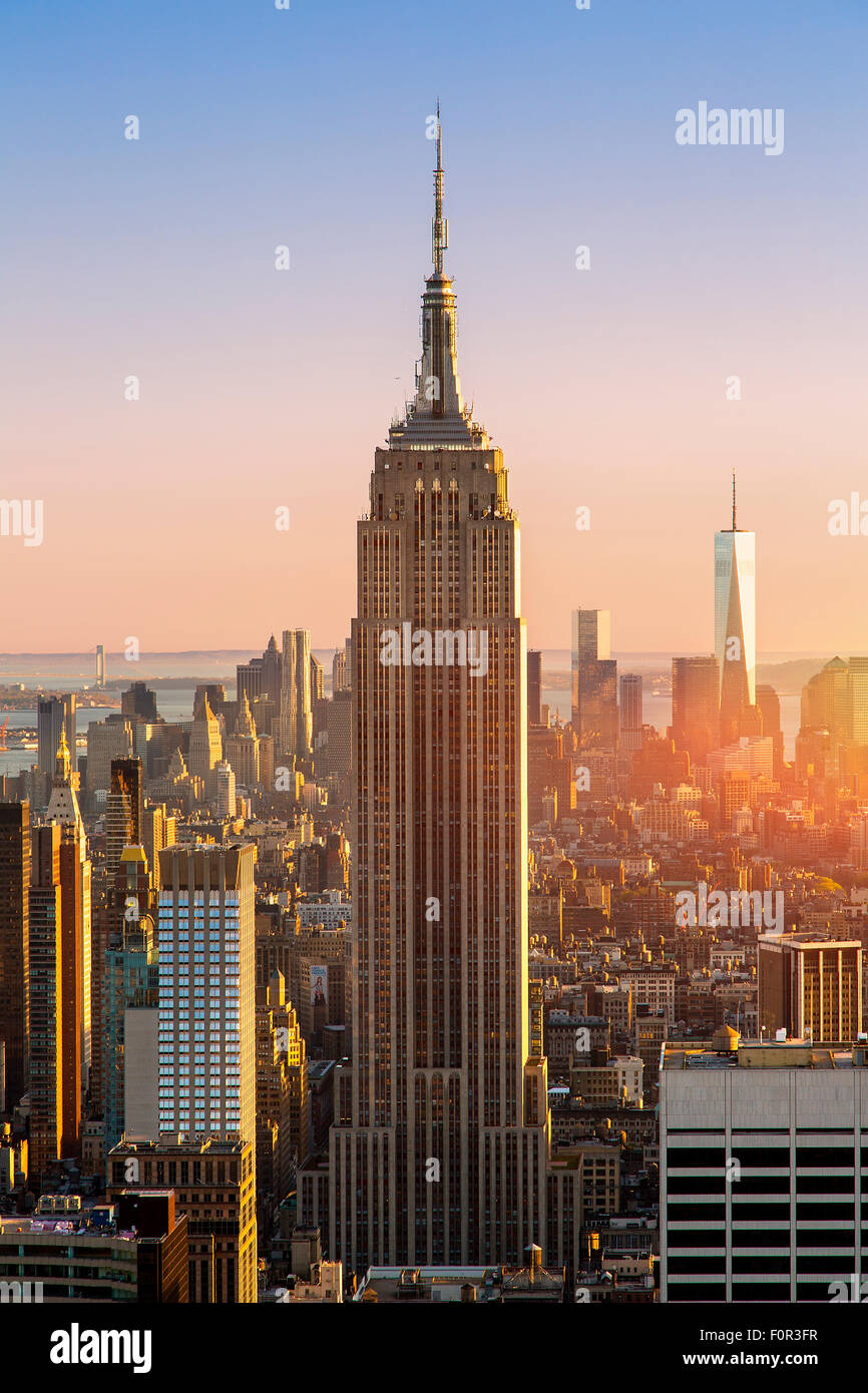 New York City, Empire State Building at Sunset - Stock Image