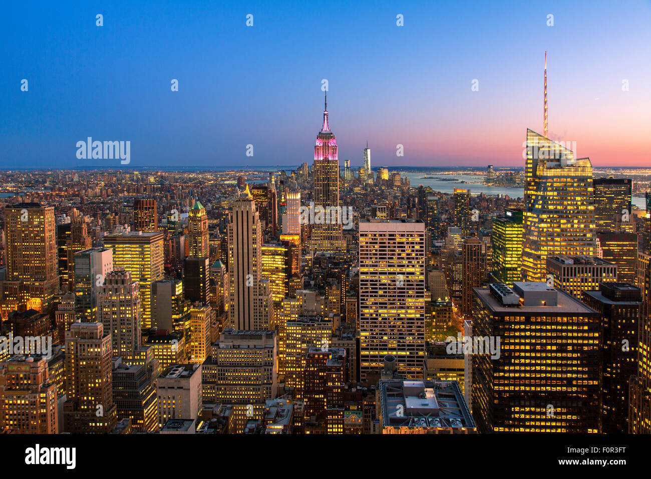 New York City, Empire State Building at Dusk Stock Photo