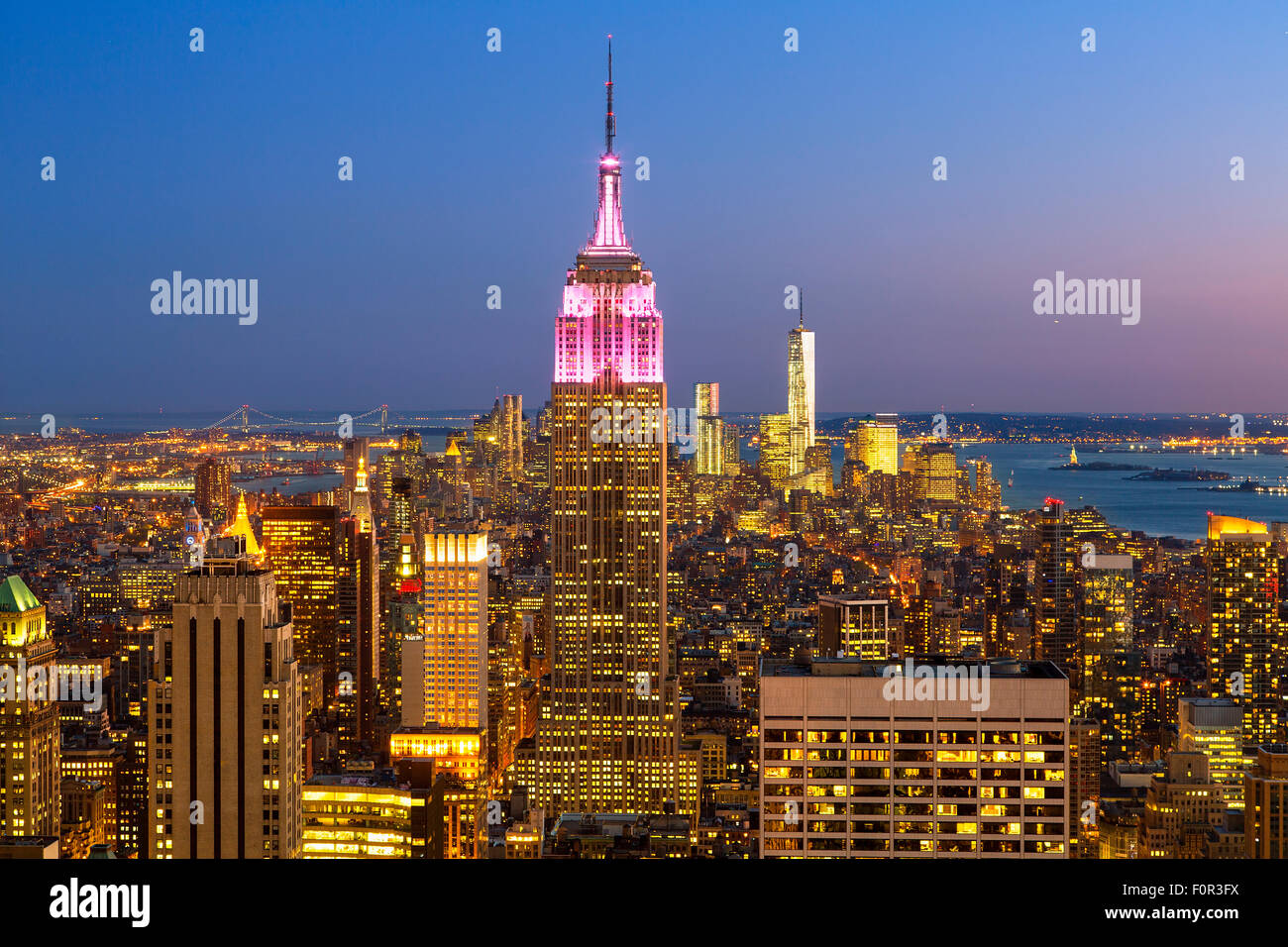New York City, Empire State Building at Dusk - Stock Image