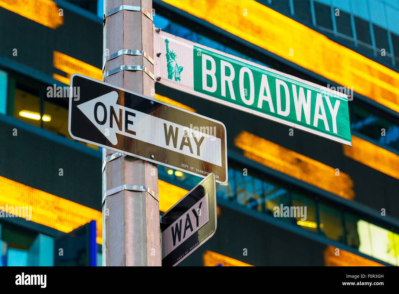Broadway sign in Time Square, New York - Stock Image