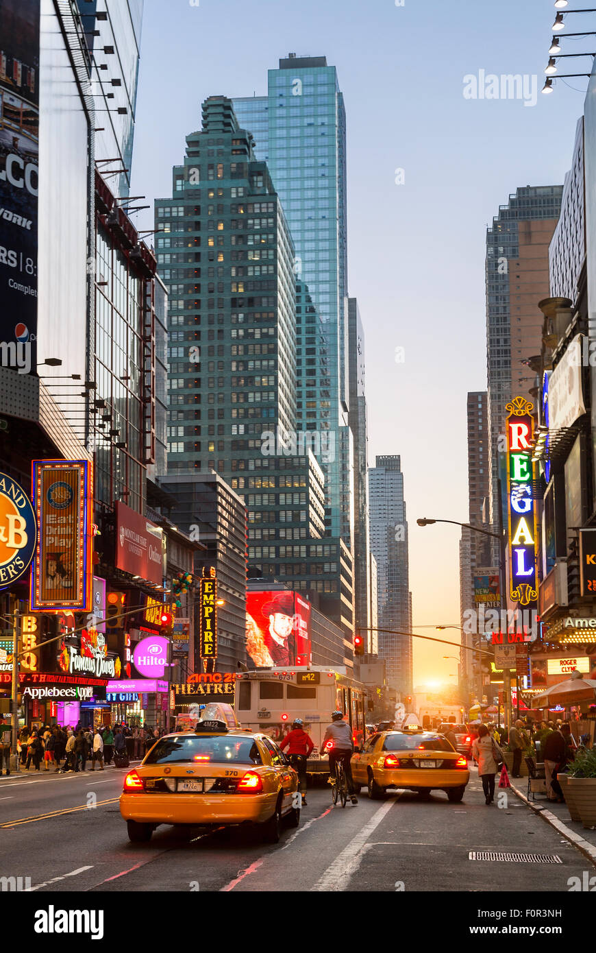New York City, Traffic on the 42 nd Street - Stock Image
