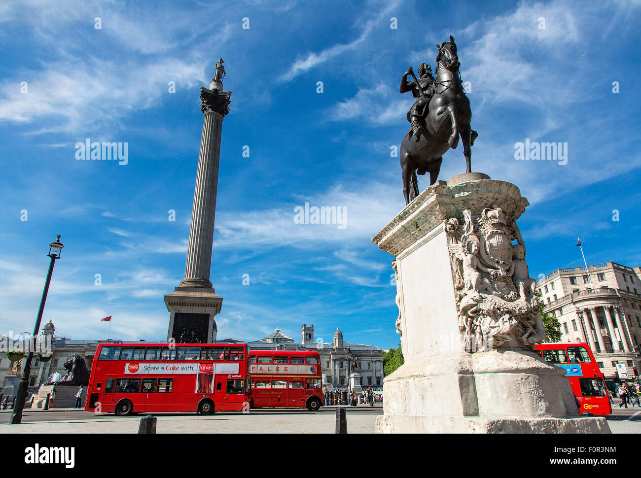 London, Trafalgar Square and Nelson ' s Column - Stock Image
