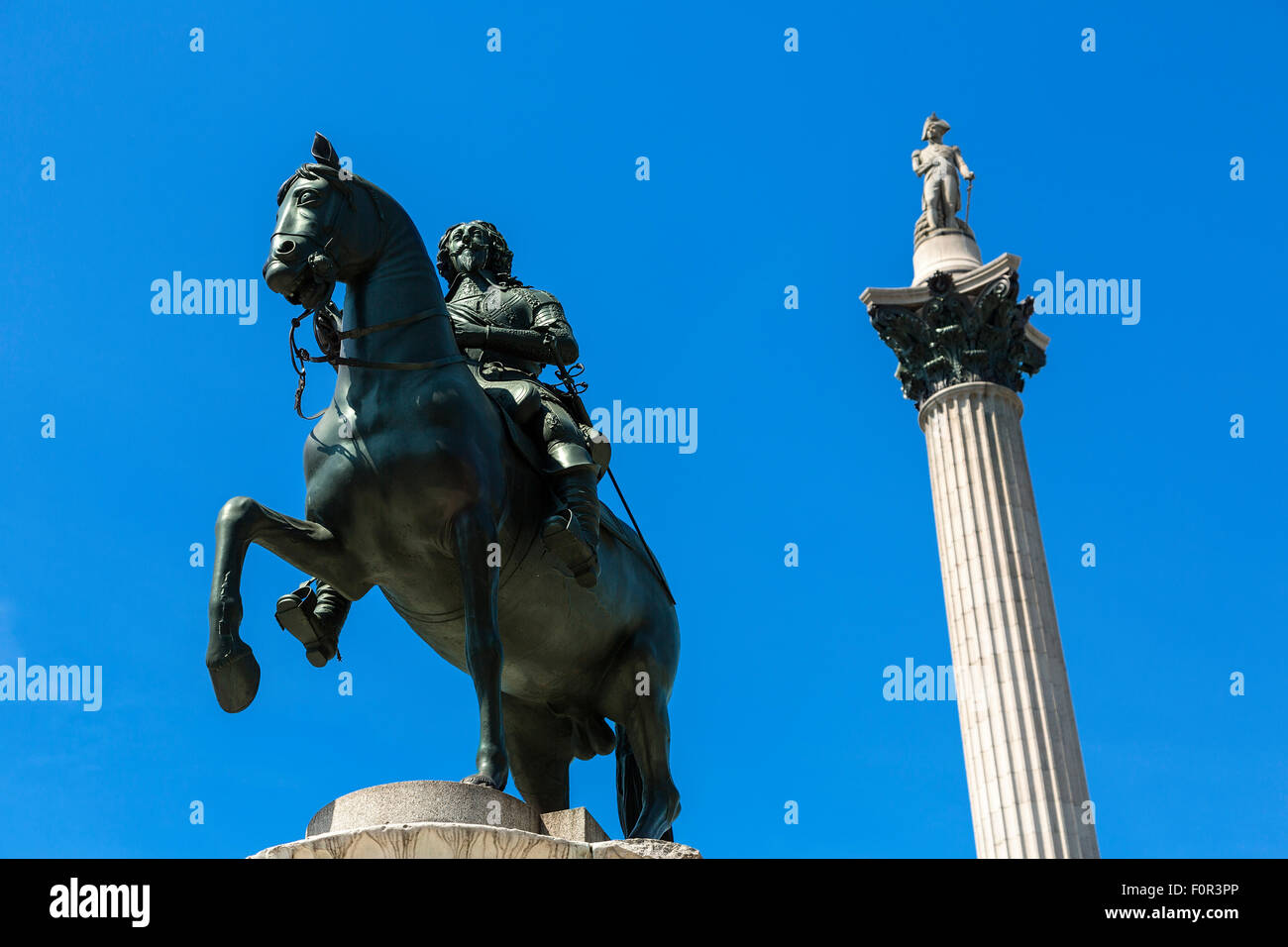 London, Trafalgar Square and Nelson's column - Stock Image