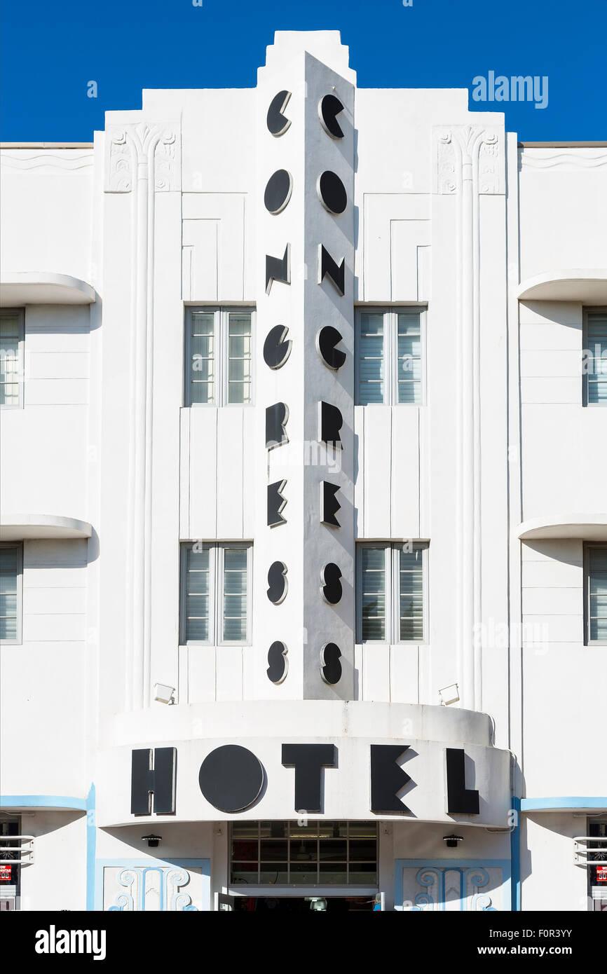 Miami, Art deco facade of Congress Hotel - Stock Image