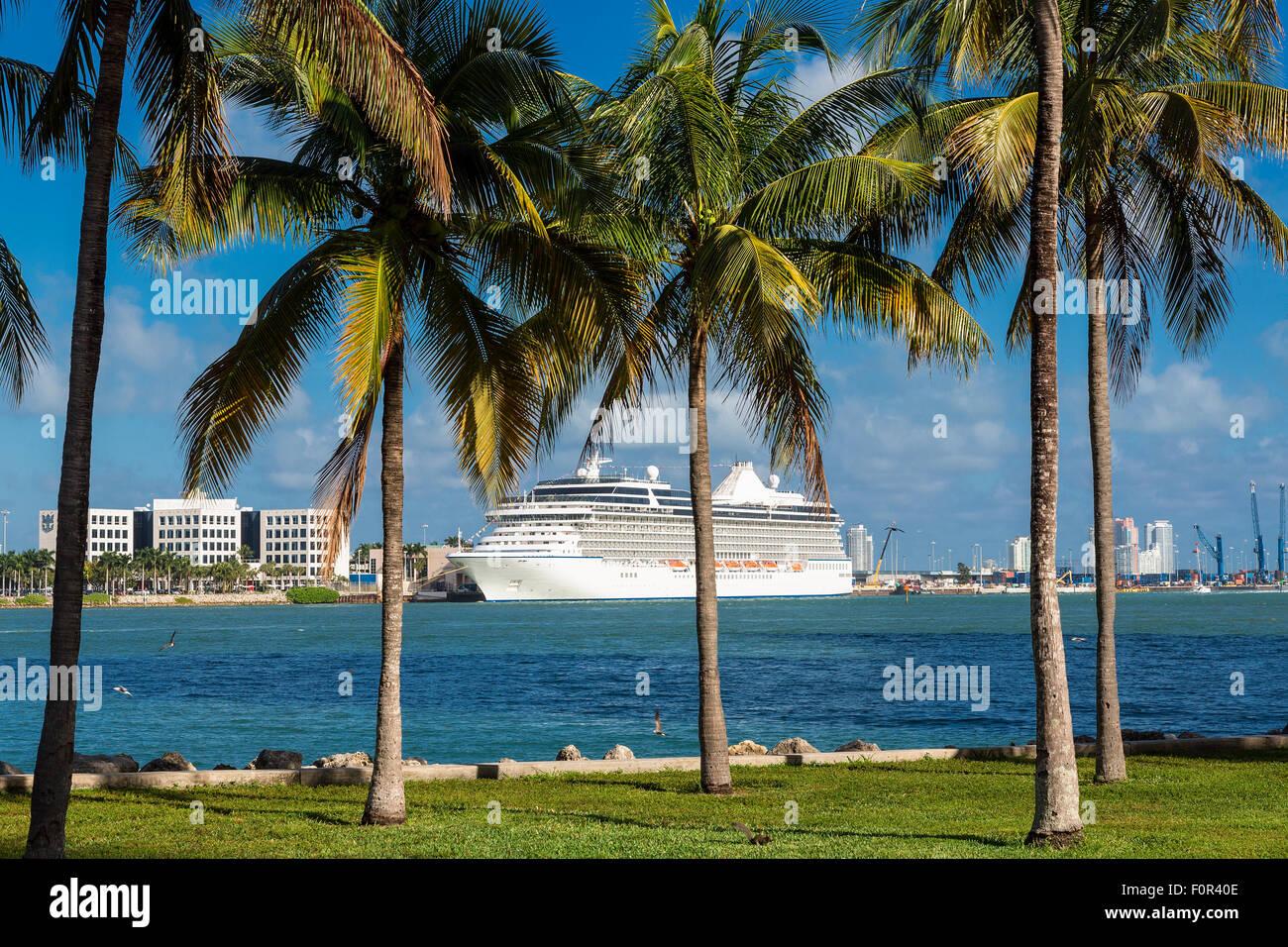 Cruise ship at Miami - Stock Image