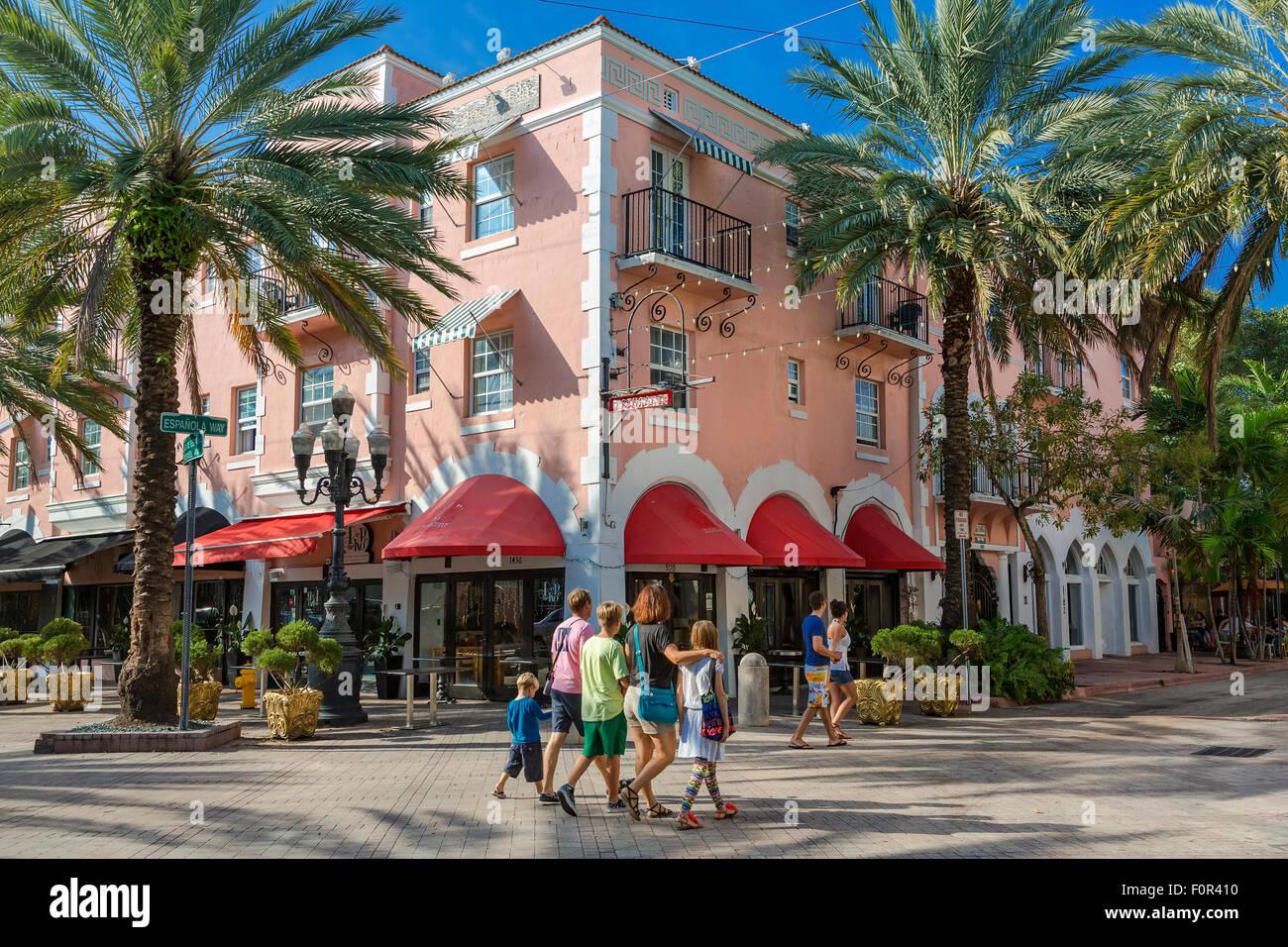 Espanola Way, South Beach, Miami, USA - Stock Image