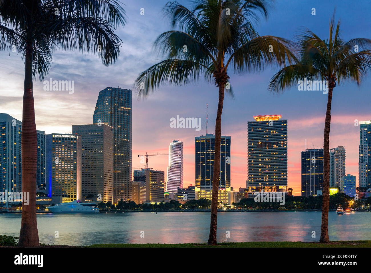 Florida, Miami Skyline at Dusk - Stock Image