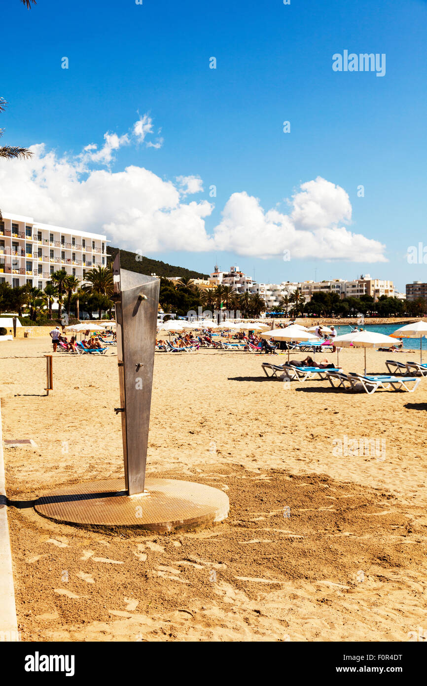 Beach shower cubicle on sand Ibiza santa Eulalia coastal coast beaches - Stock Image