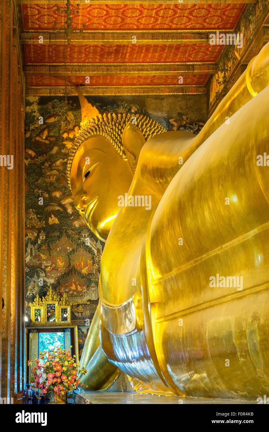 Thailand, Bangkok, Wat Pho, Reclining Buddha, - Stock Image