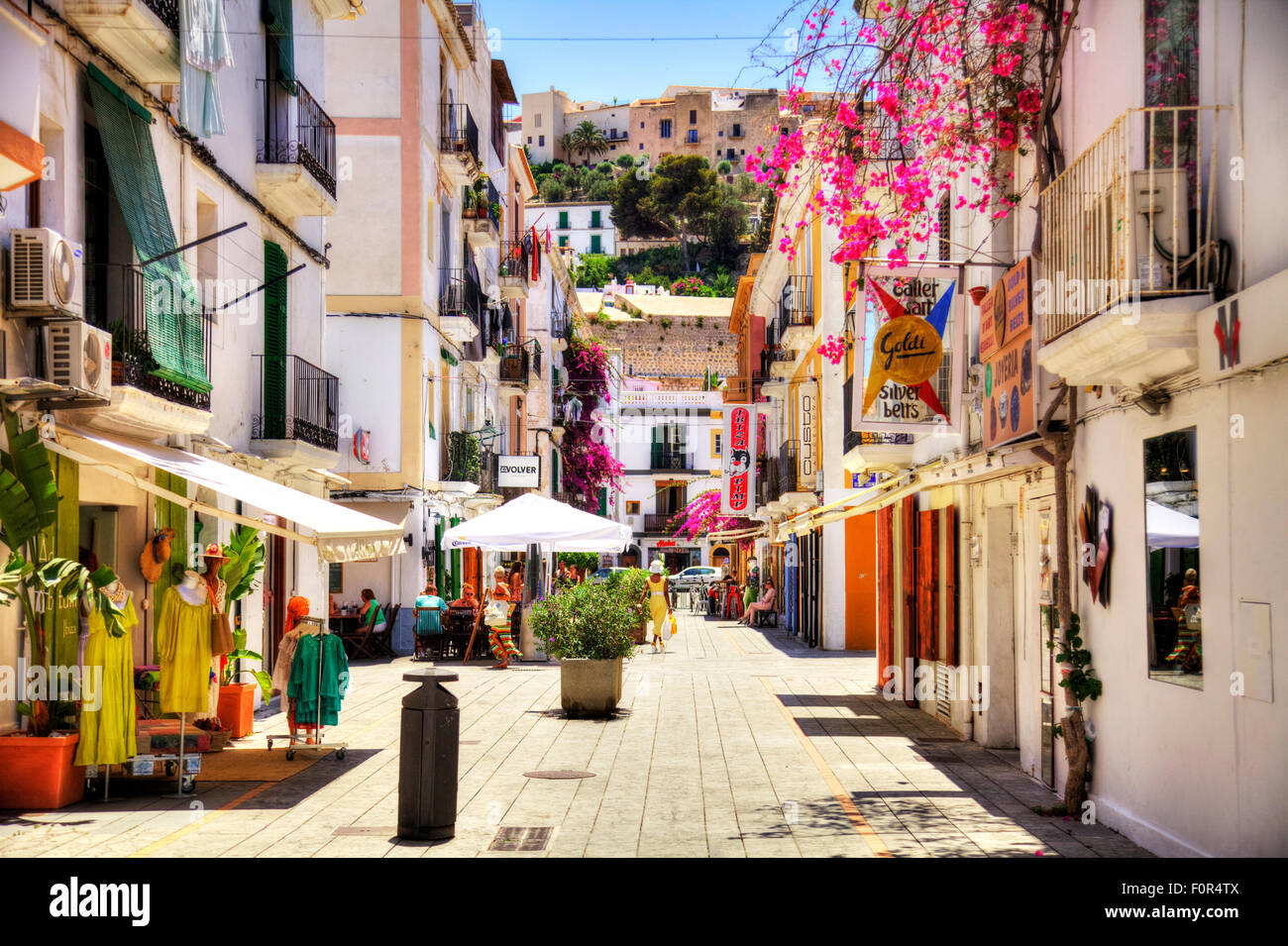 ibiza town street shops alley white buildings leading to old town stock photo 86560570 alamy. Black Bedroom Furniture Sets. Home Design Ideas