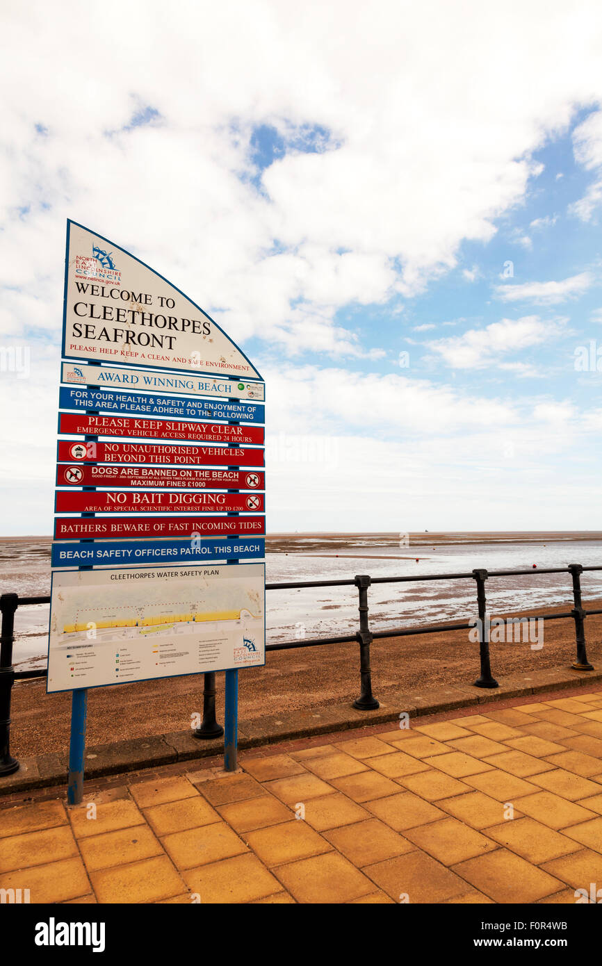 Cleethorpes seafront welcome sign rules award winning beach dangers warning signs UK England - Stock Image