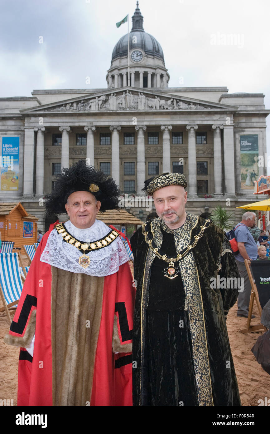 The Lord Mayor of Nottingham Mick Wildgust with The Sheriff of Nottingham Leon Unczur in Nottingham town city, England, - Stock Image