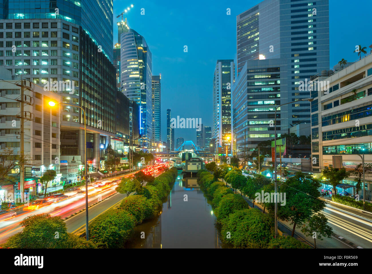 Bangkok, Thailand, Traffic in Downtown Stock Photo