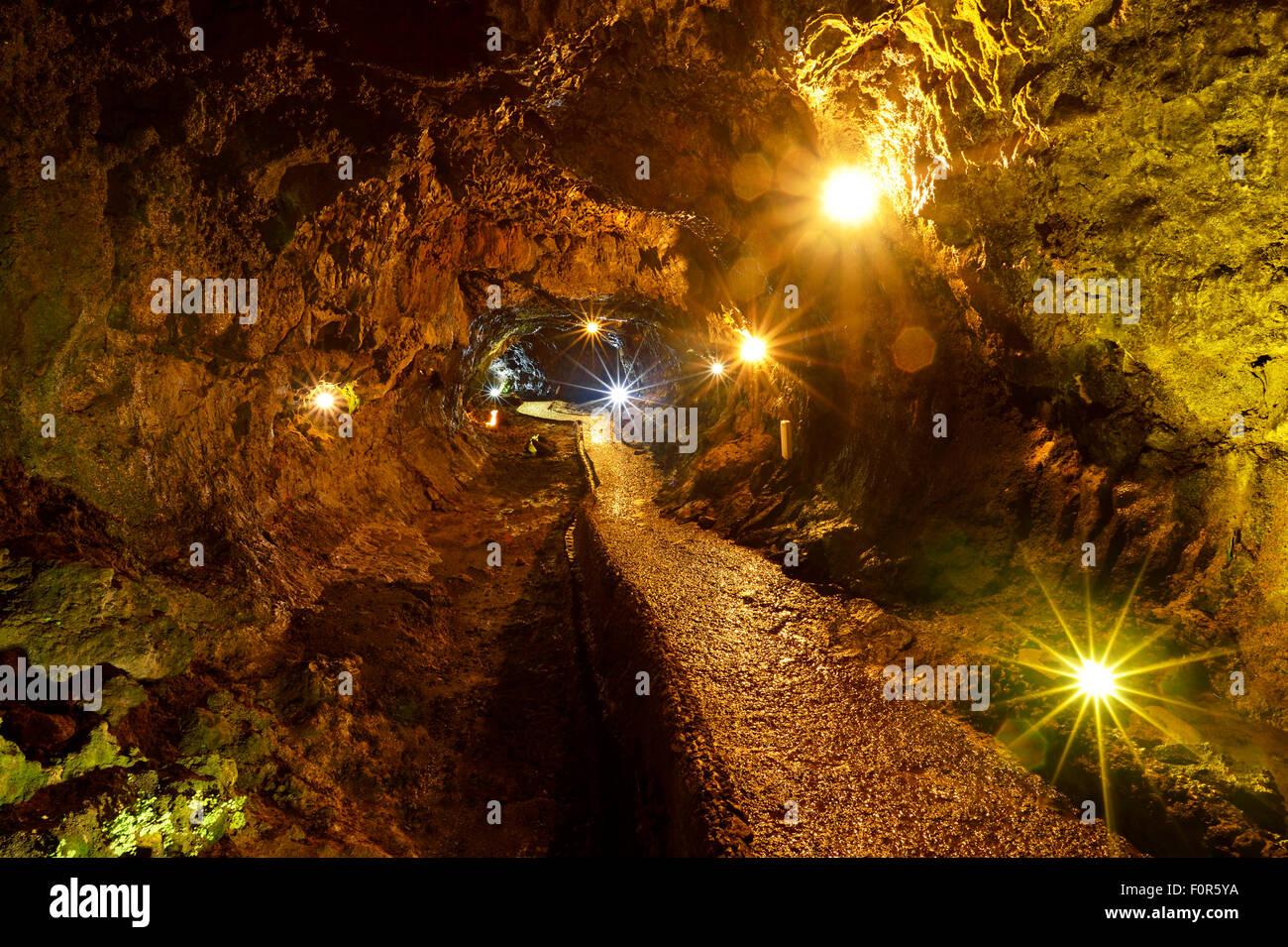 Lava caves Grutas de Sao Vicente, Sao Vicente, Madeira, Portugal - Stock Image
