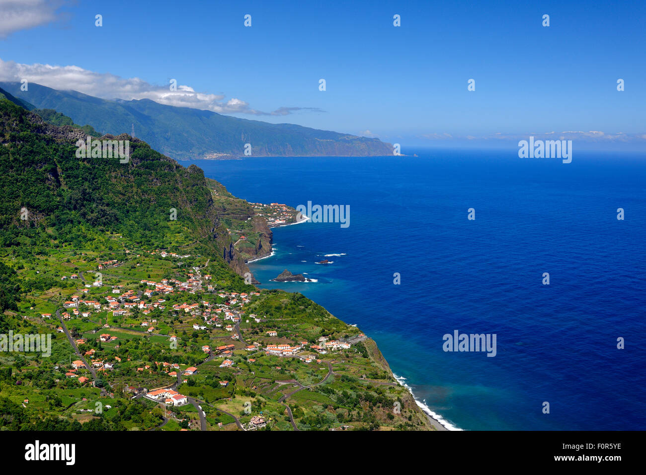 North coast with the village of Arco de Sao Jorge, Madeira, Portugal - Stock Image