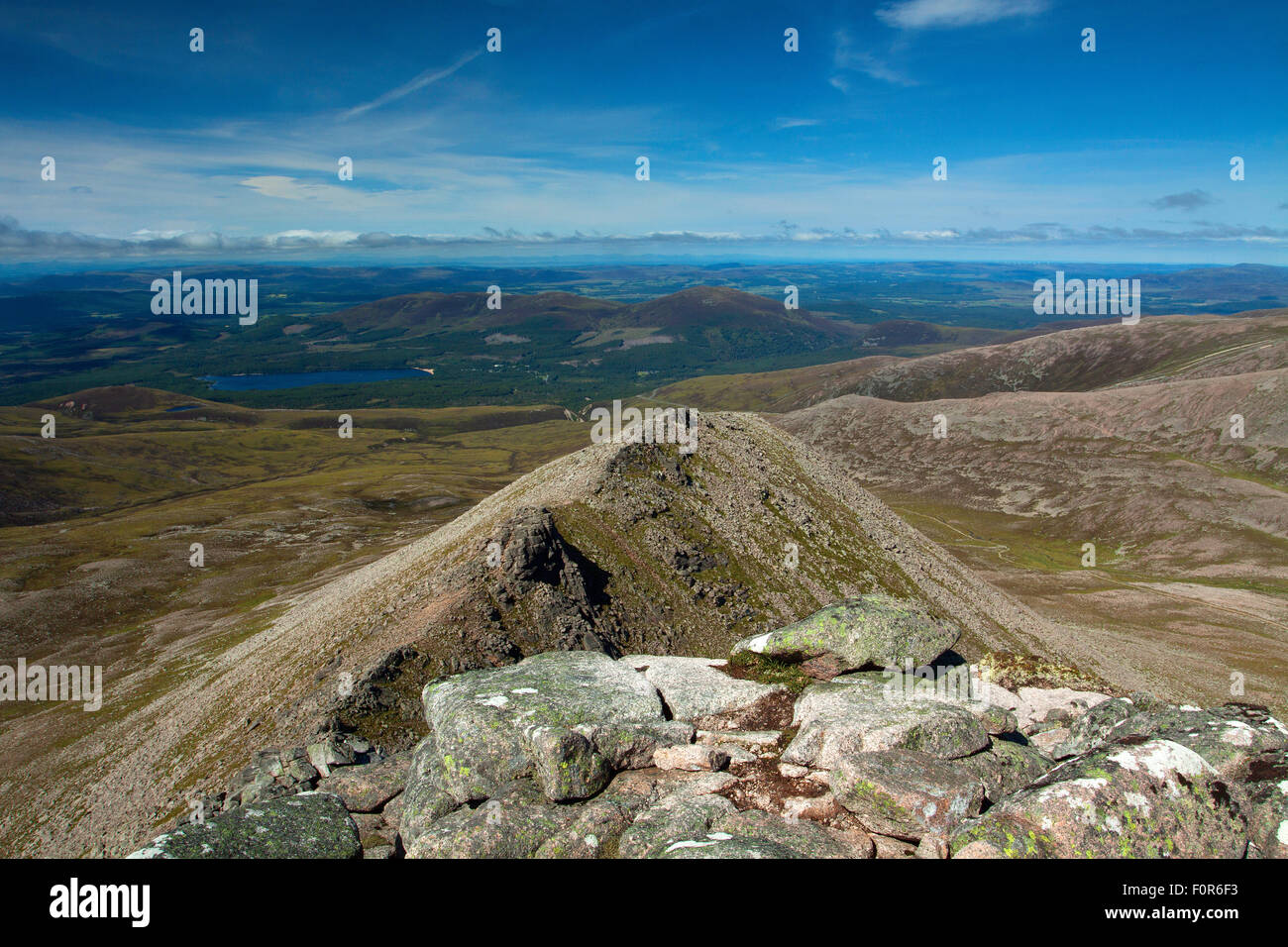 Loch Morlich and Meall a Bhuachaille from Fiacaill Buttress, The Northern Corries, Cairngorm National Park, Badenoch Stock Photo