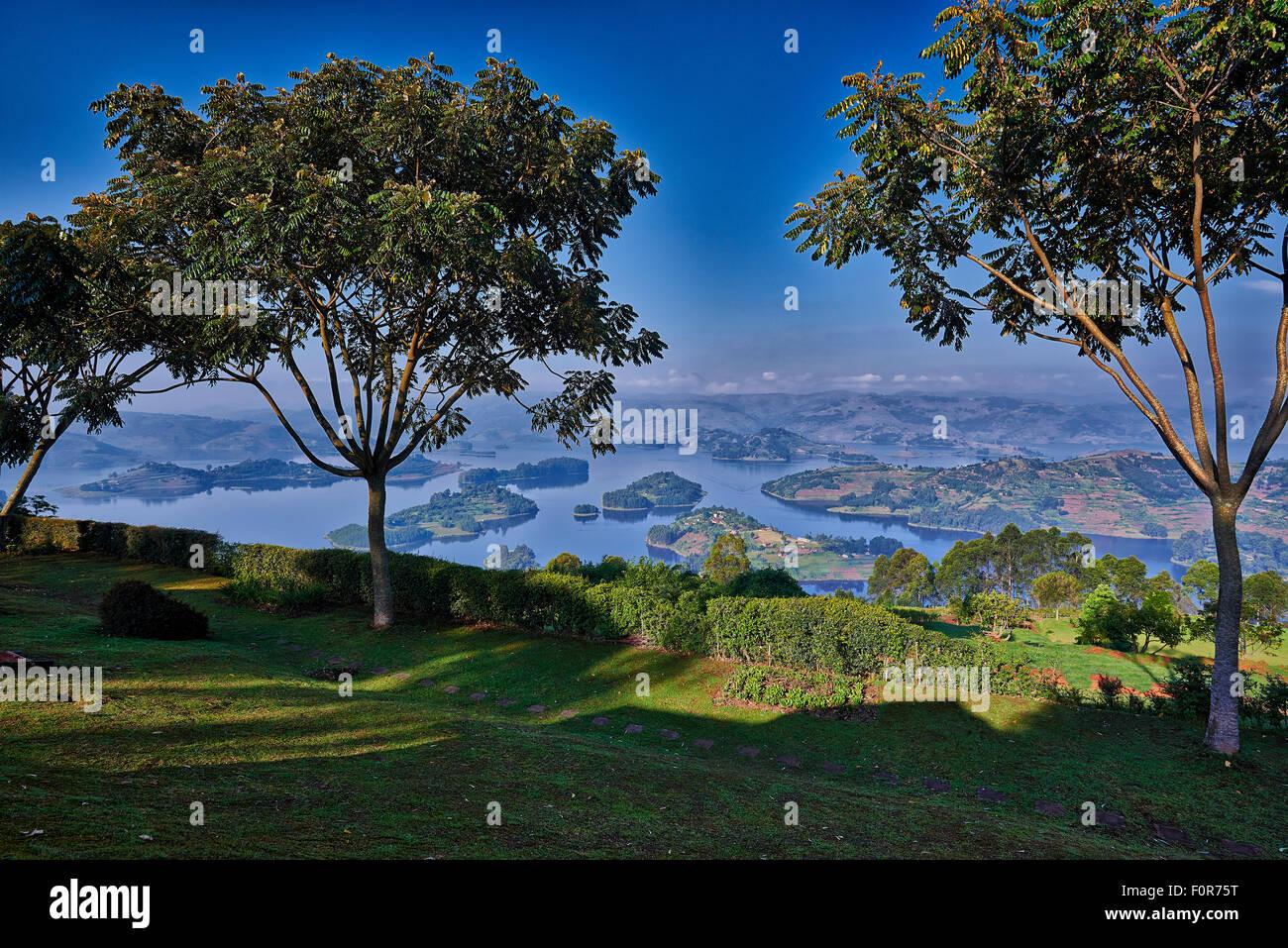 landscape of Lake Bunyonyi, Uganda, Africa - Stock Image