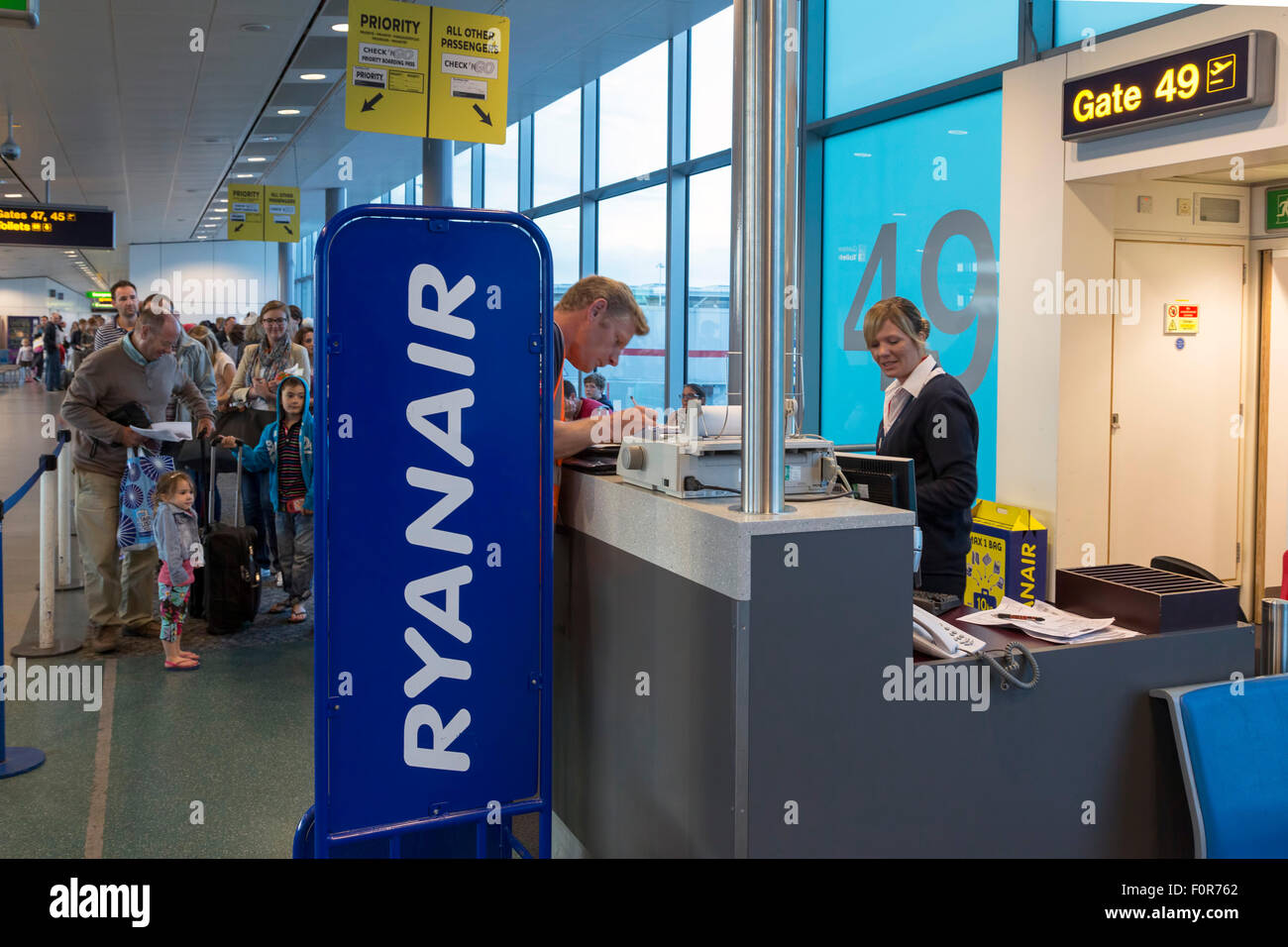Ryanair check-in area, Stansted airport, London, United Kingdom - Stock Image