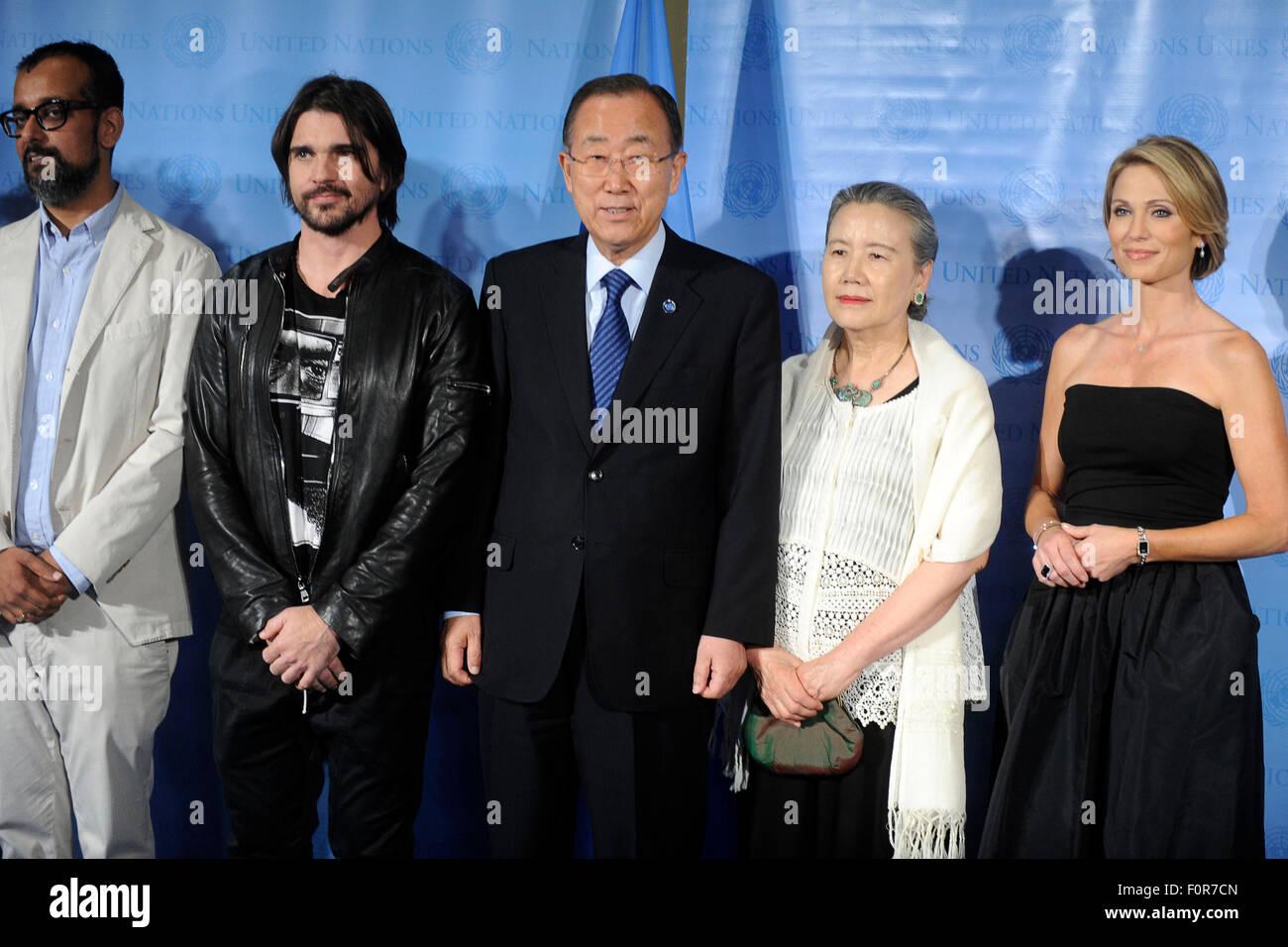 VICE media founder Suroosh Alvi, singer Juanes, United Nations Secretary-General Ban Ki-moon and his wife Yoo Soon Stock Photo