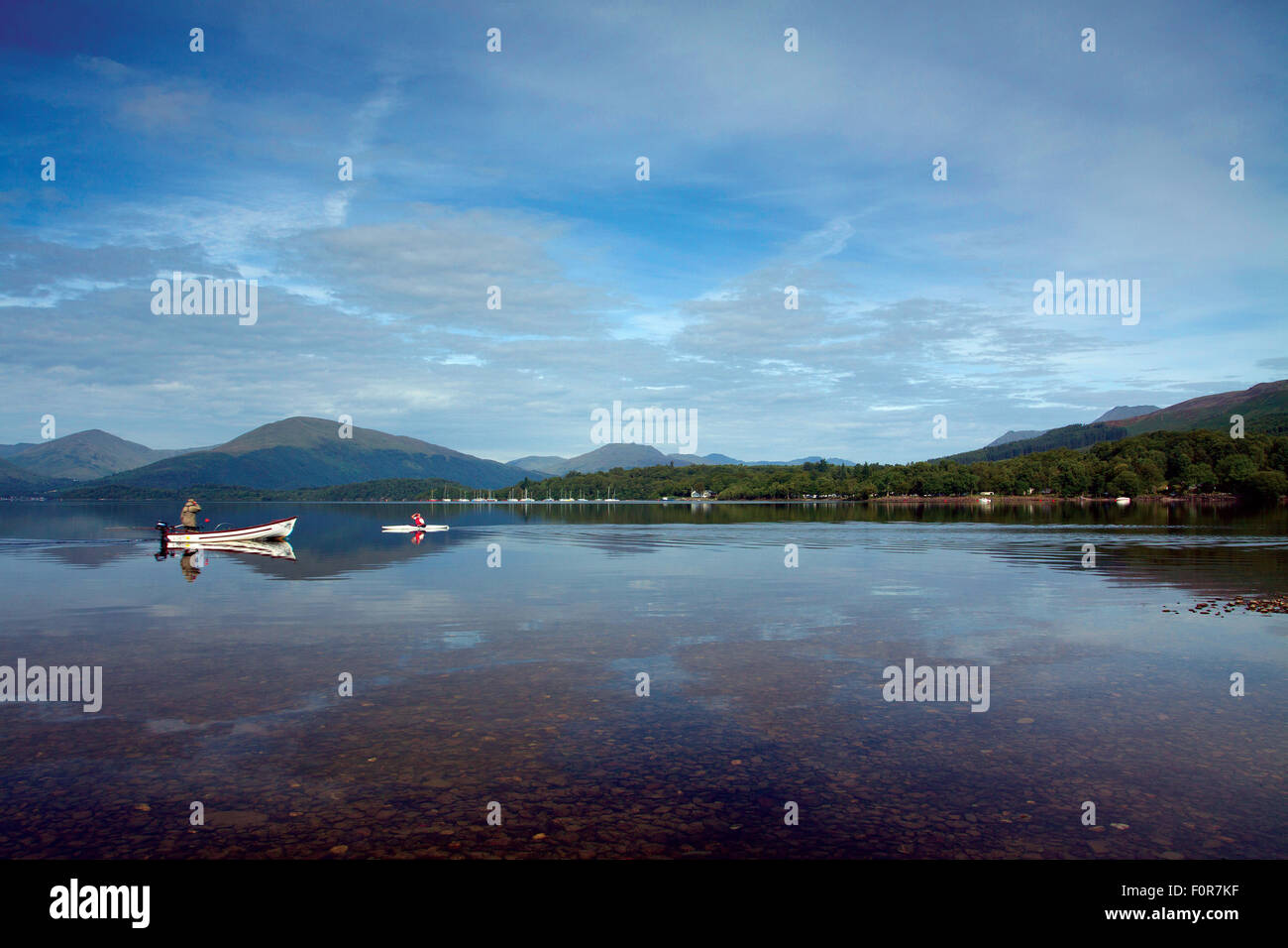 Loch Lomond and the Luss Hills from Milarrochy Bay, Loch Lomond and the Trossachs National Park - Stock Image