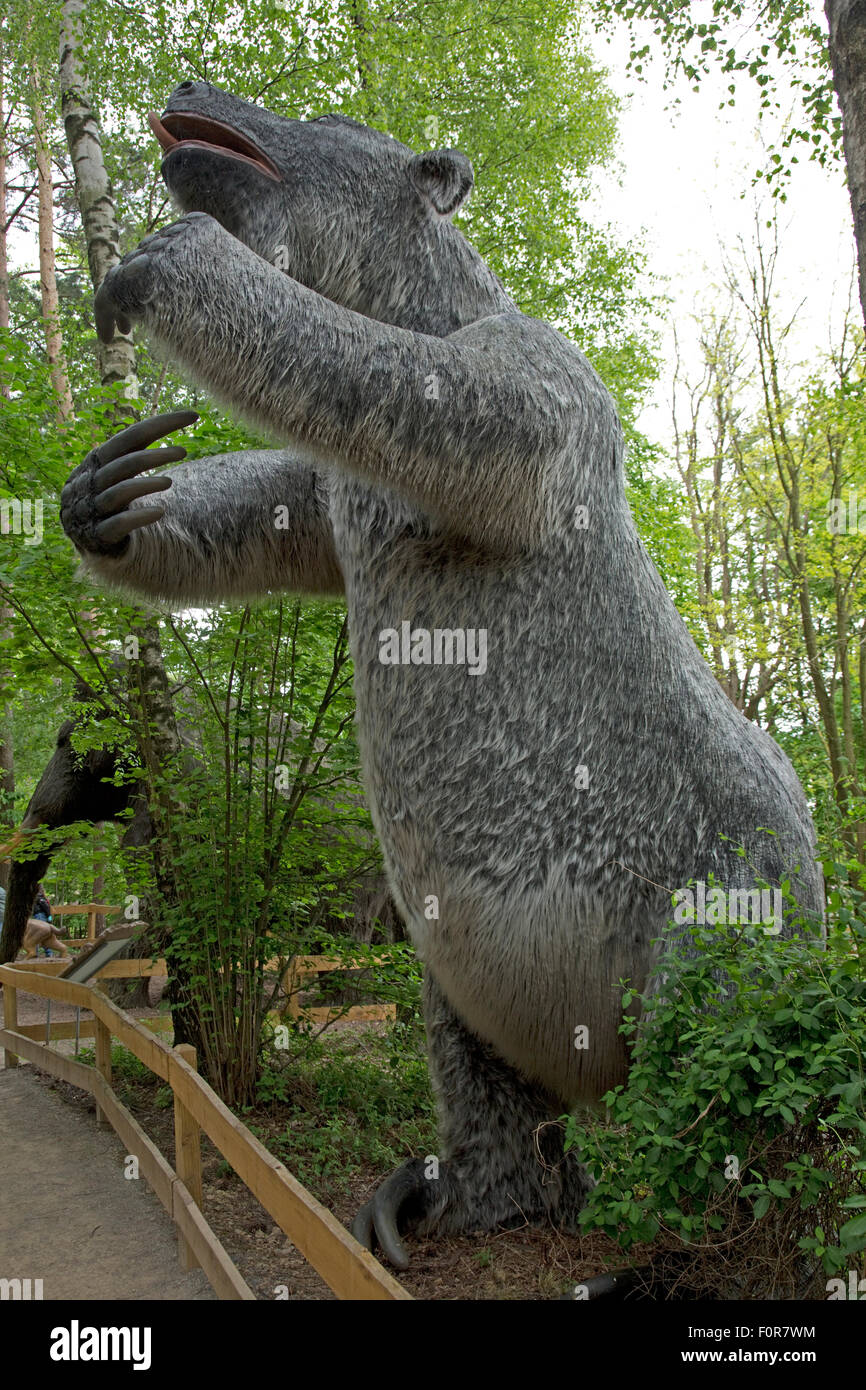 Megatherium an elephant-sized ground sloth Dinosaurier Park Germany - Stock Image