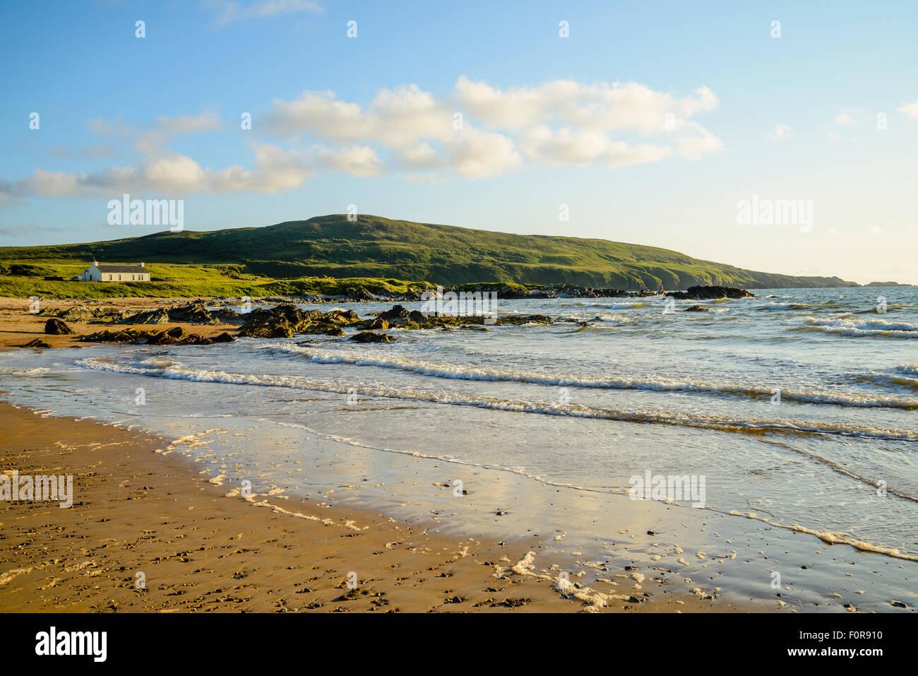Beach at Laggan Bay on the island of Islay Scotland looking to The Oa - Stock Image