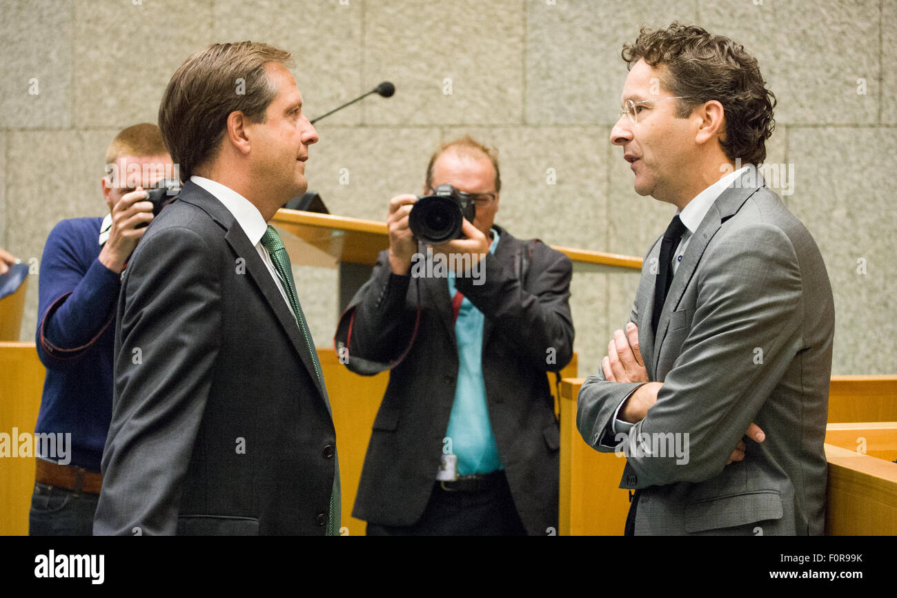 The Hague, Netherlands. 19th Aug, 2015. On Wednesday Dutch parliament was called to debate on the emergency fund Stock Photo