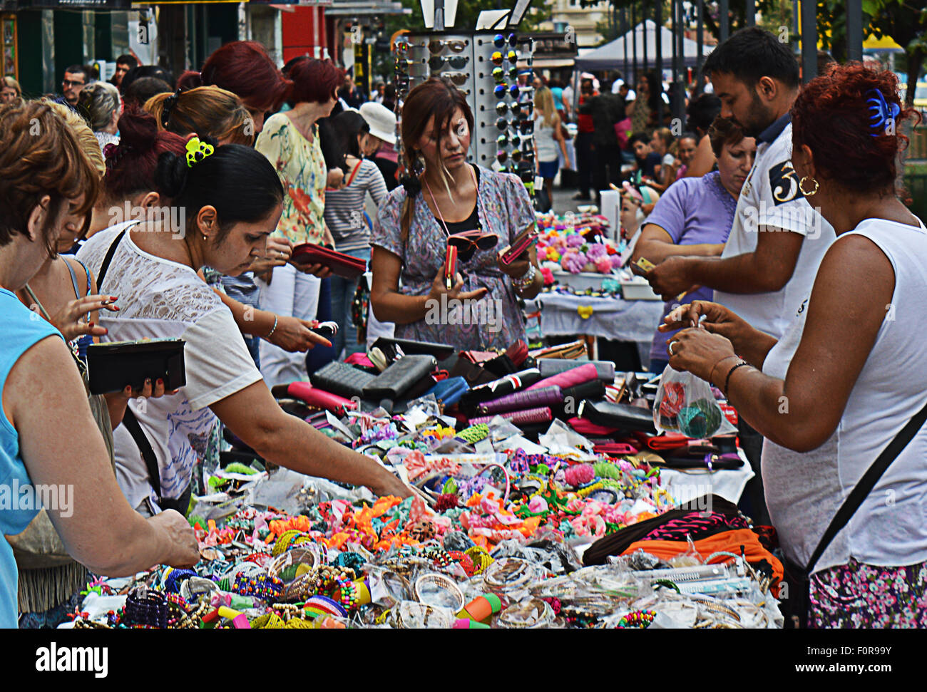 Market stall shopping Bucharest, Romania - Stock Image