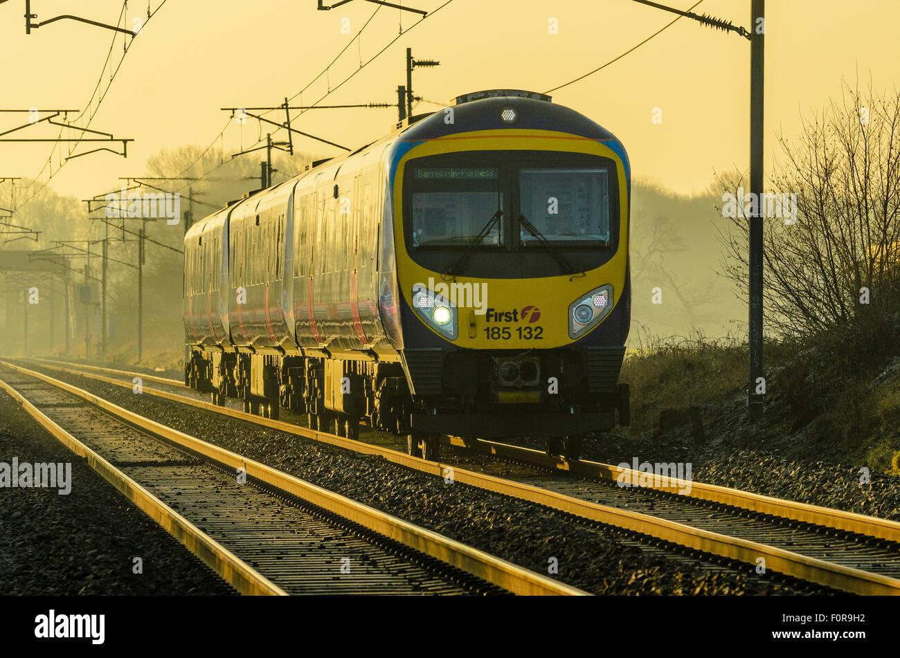 First TransPennine Express diesel train on the West Coast Main Line near Garstang Lancashire - Stock Image